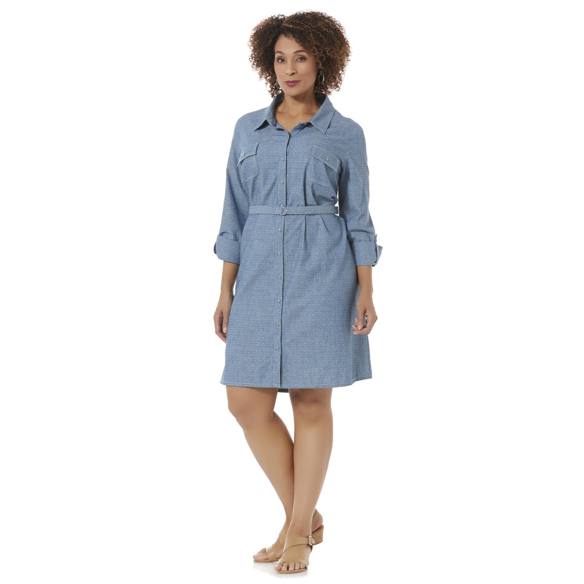 Basic editions women 39 s plus chambray shirt dress belt for Belted chambray shirt dress