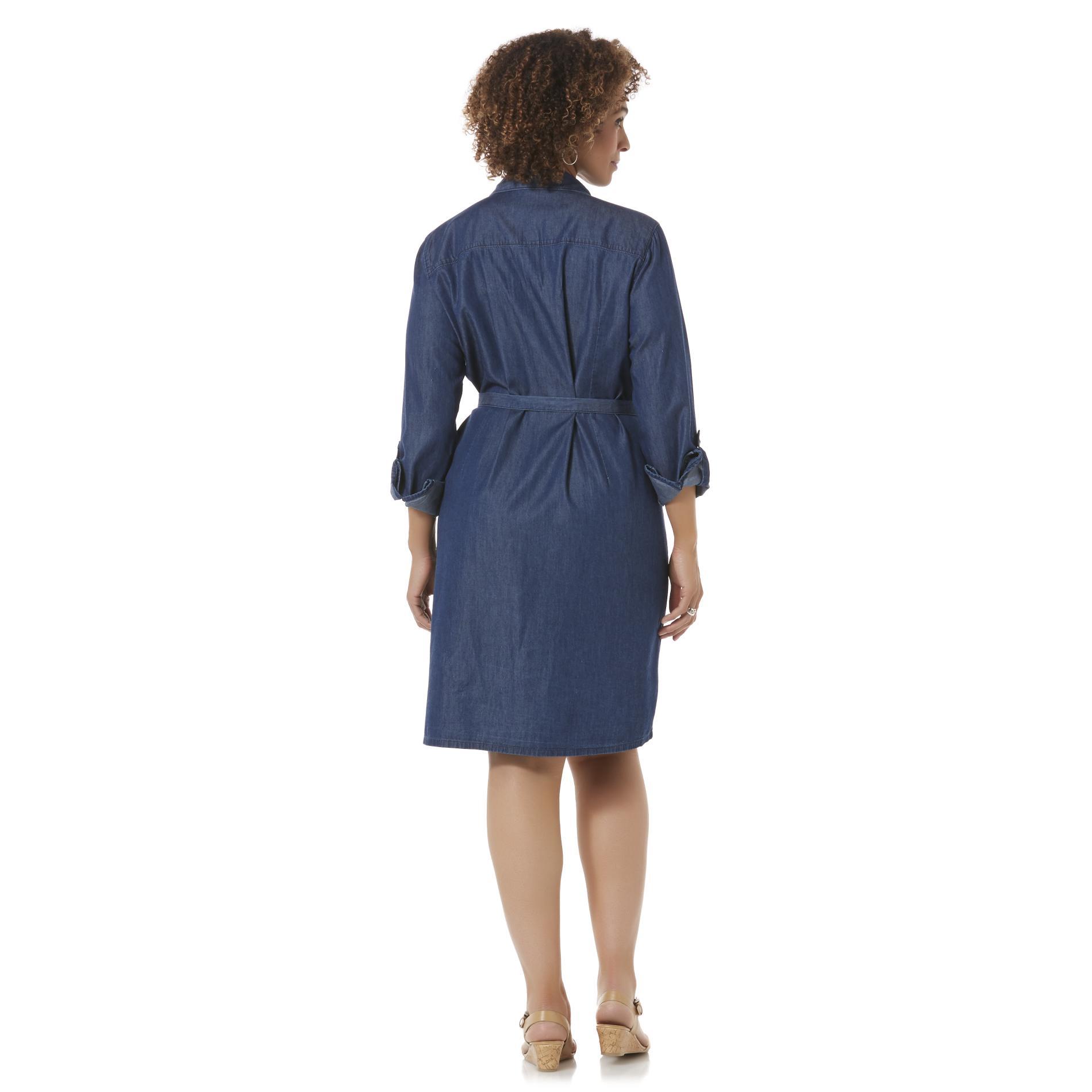 Women 39 s plus chambray shirt dress belt shop casual for Belted chambray shirt dress