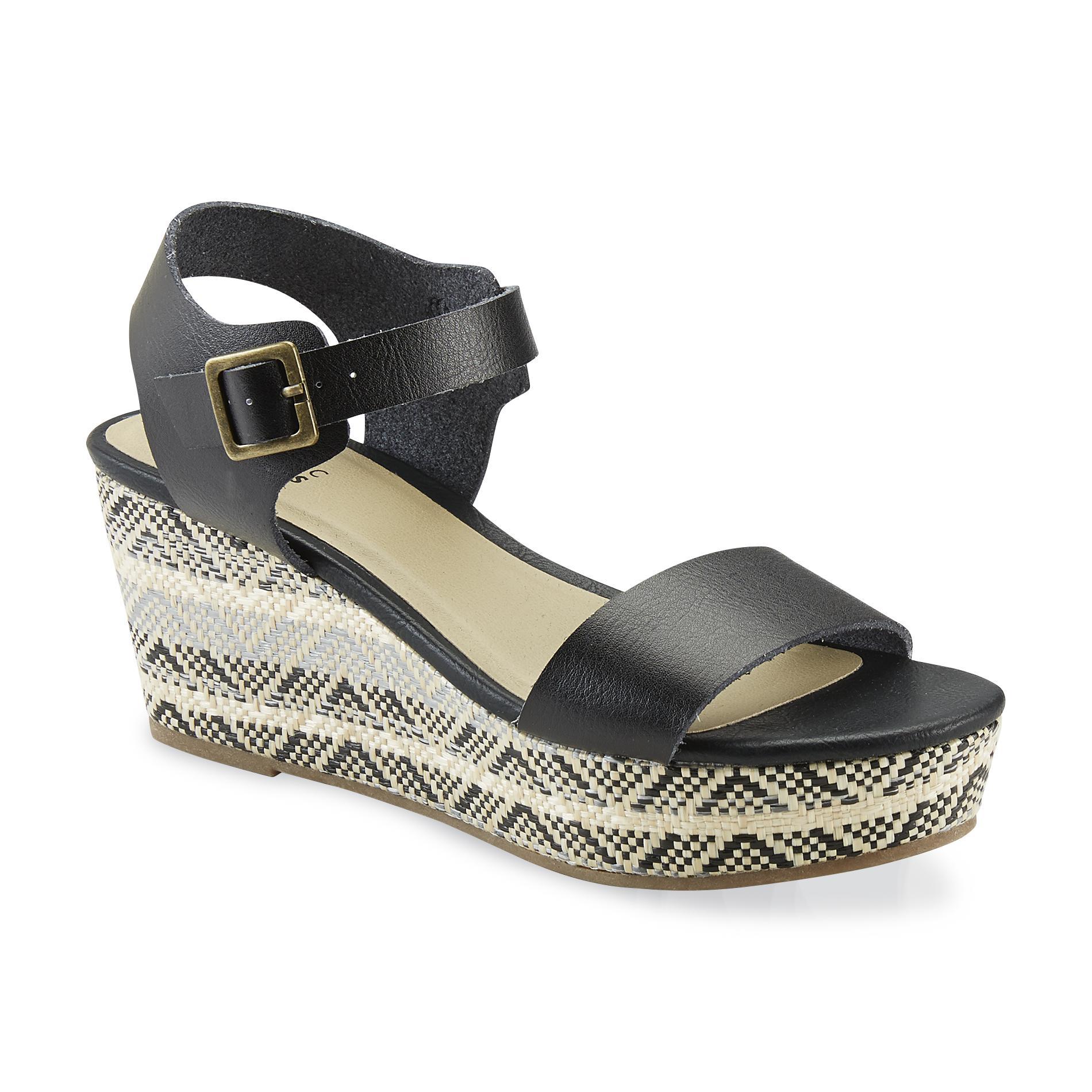 Basic Editions Women's Wallie Black/Tan/Tribal Wedge Sandal
