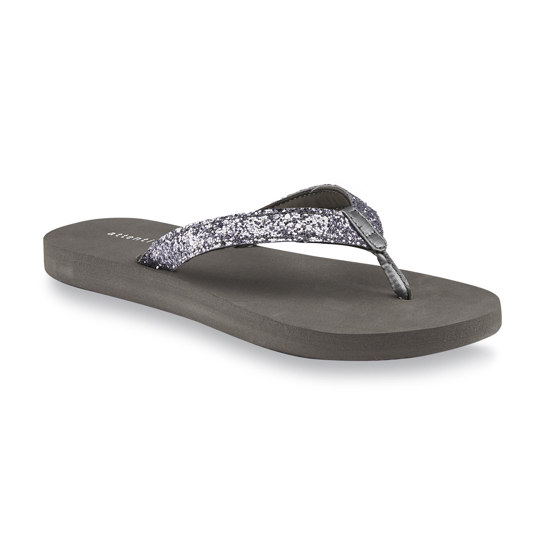 Attention Women's Zuri Gray Glitter Flip-Flop