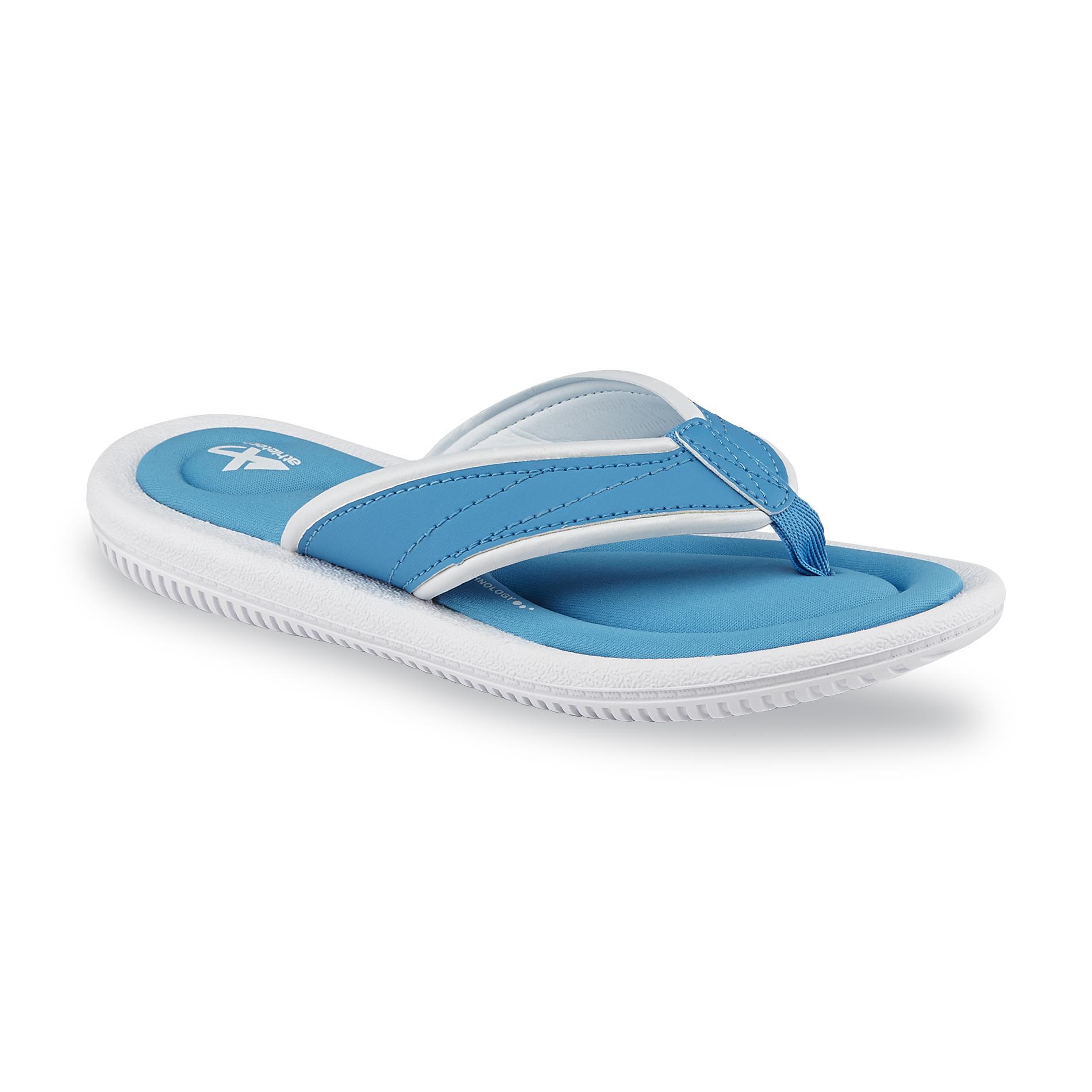 Athletech Women's Alayna Teal/White Memory Foam Flip-Flop Sandal