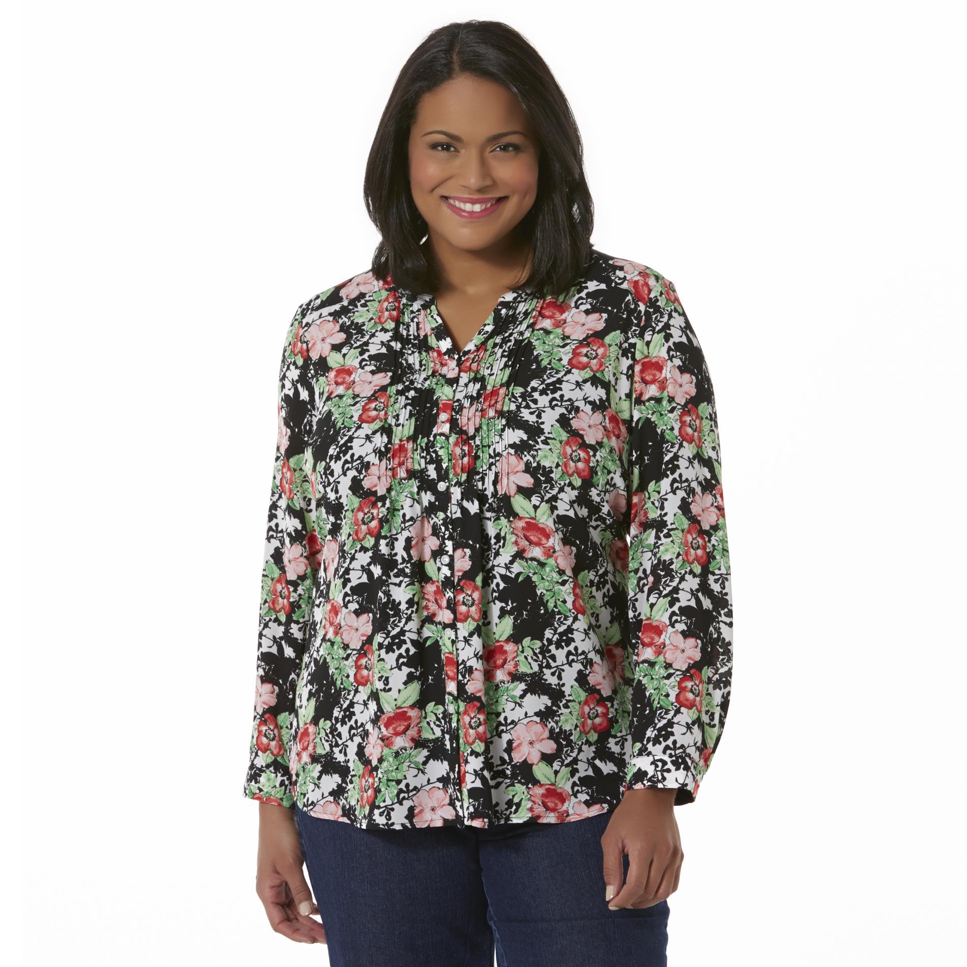 Laura Scott Women's Plus Pintuck Blouse - Floral