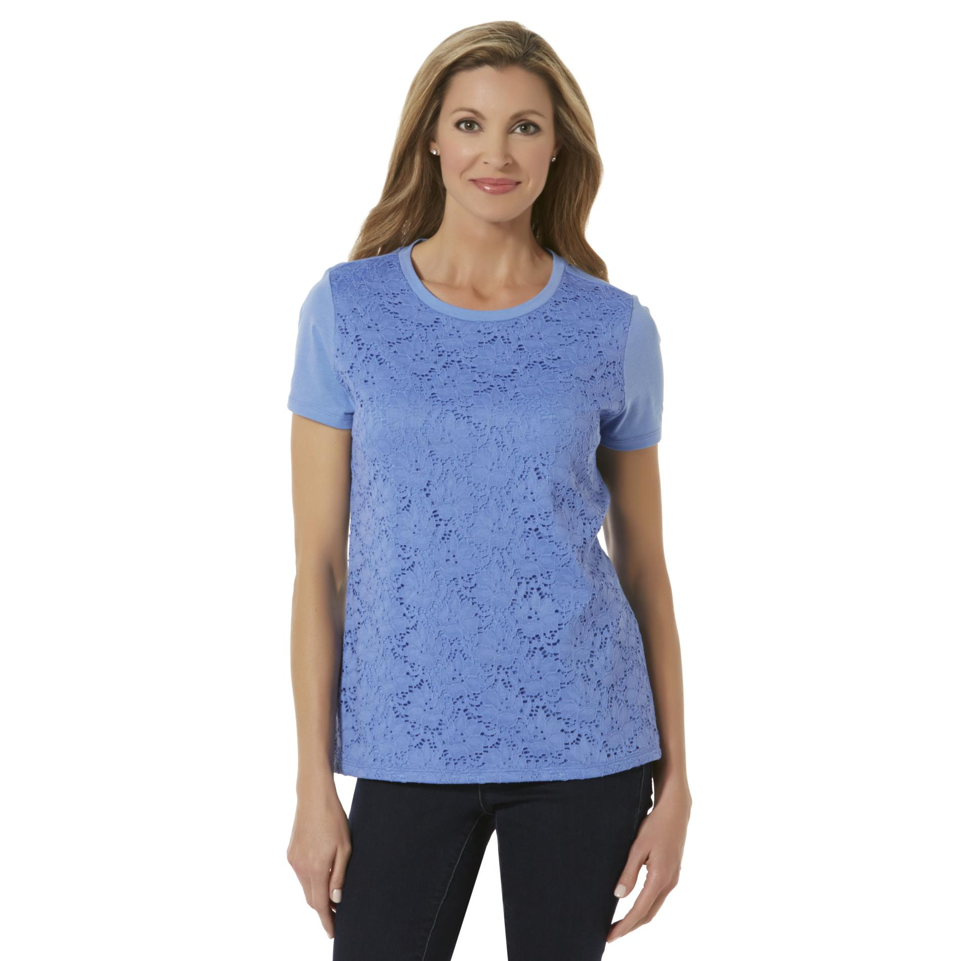 Basic Editions Women's Lace T-Shirt