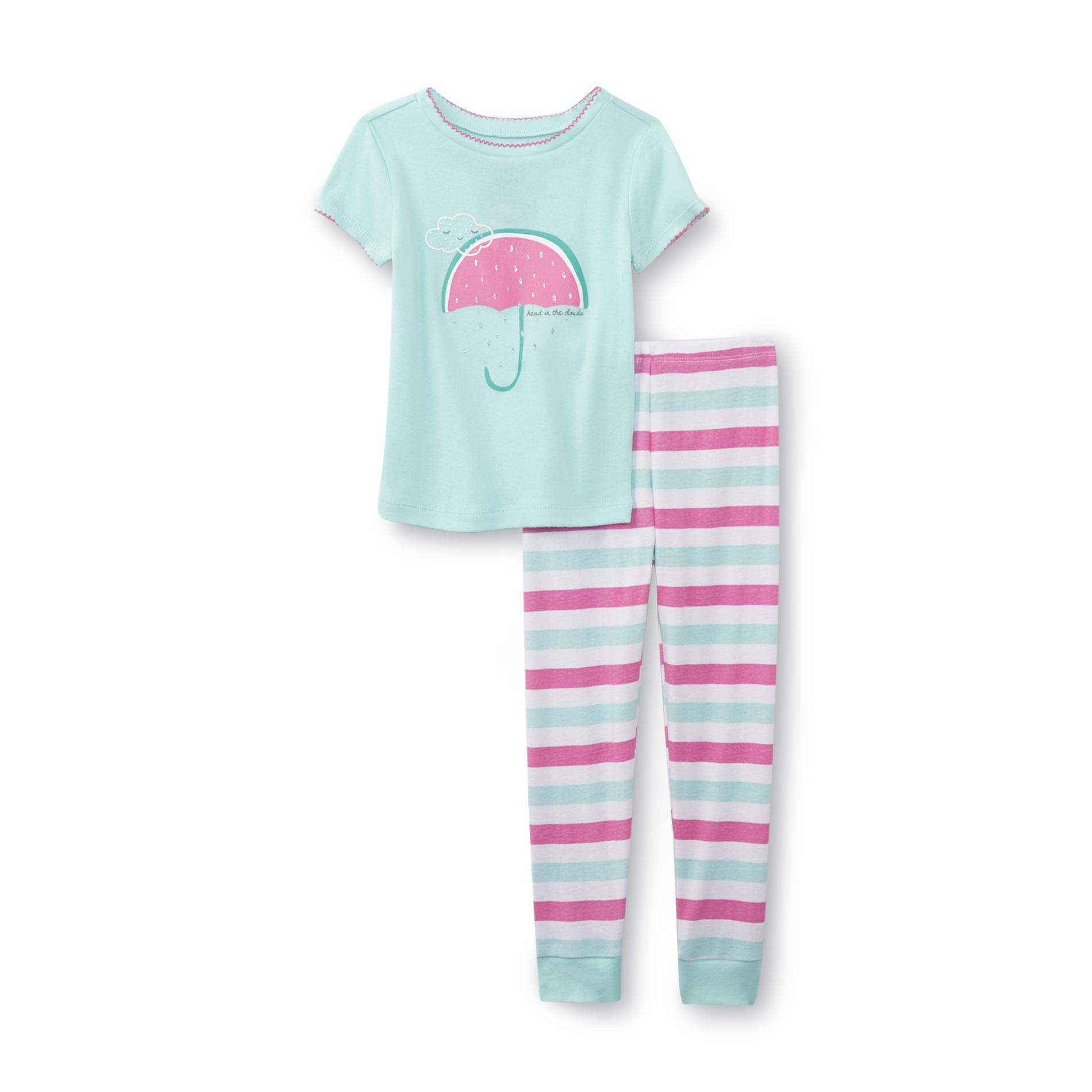 Joe Boxer Infant & Toddler Girl's Pajama Shirt & Pants - Umbrella & Striped