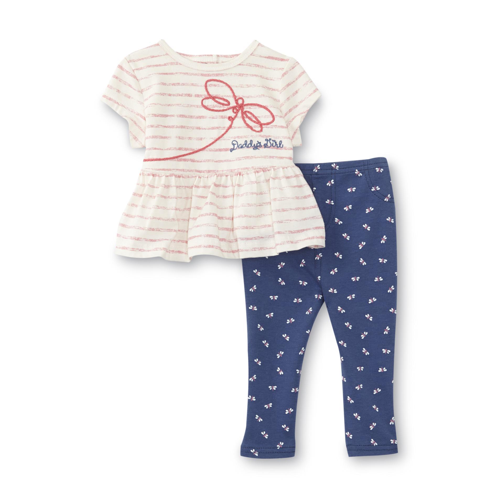 Little Wonders Newborn & Infant Girl's T-Shirt & Leggings - Striped & Dragonfly