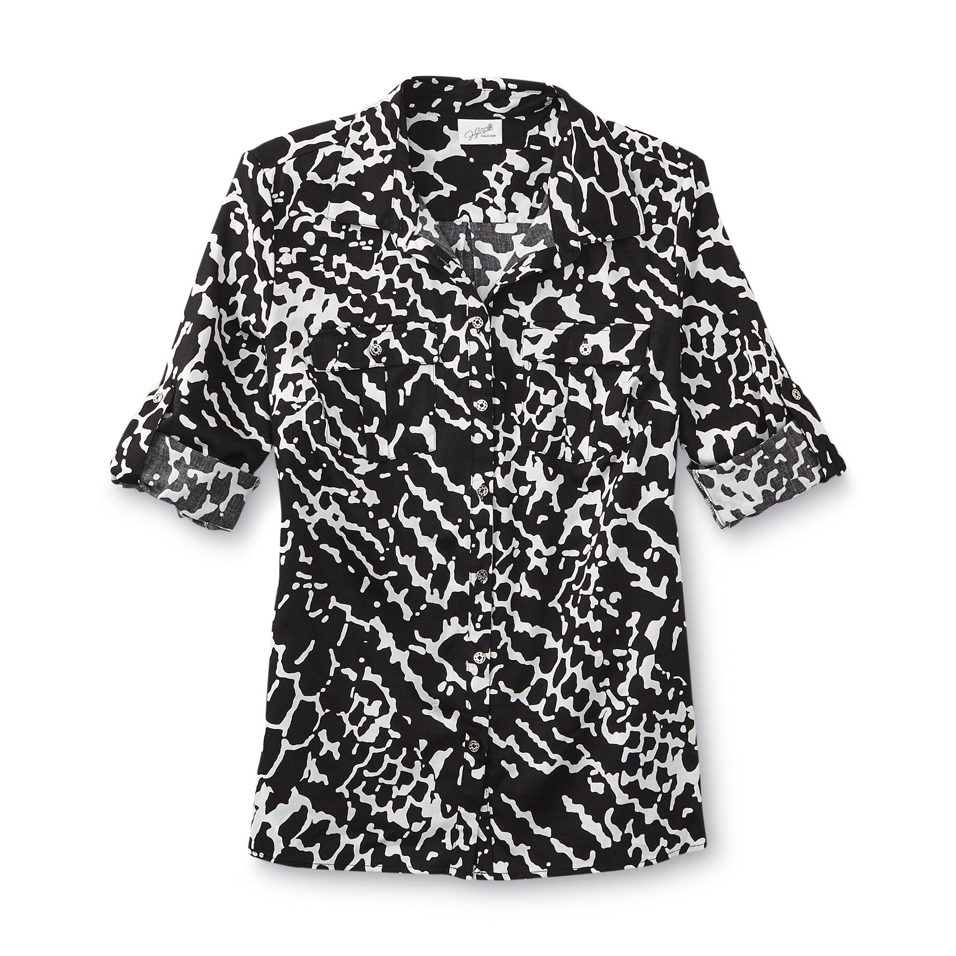 Jaclyn Smith Women's Utility Shirt - Animal Print
