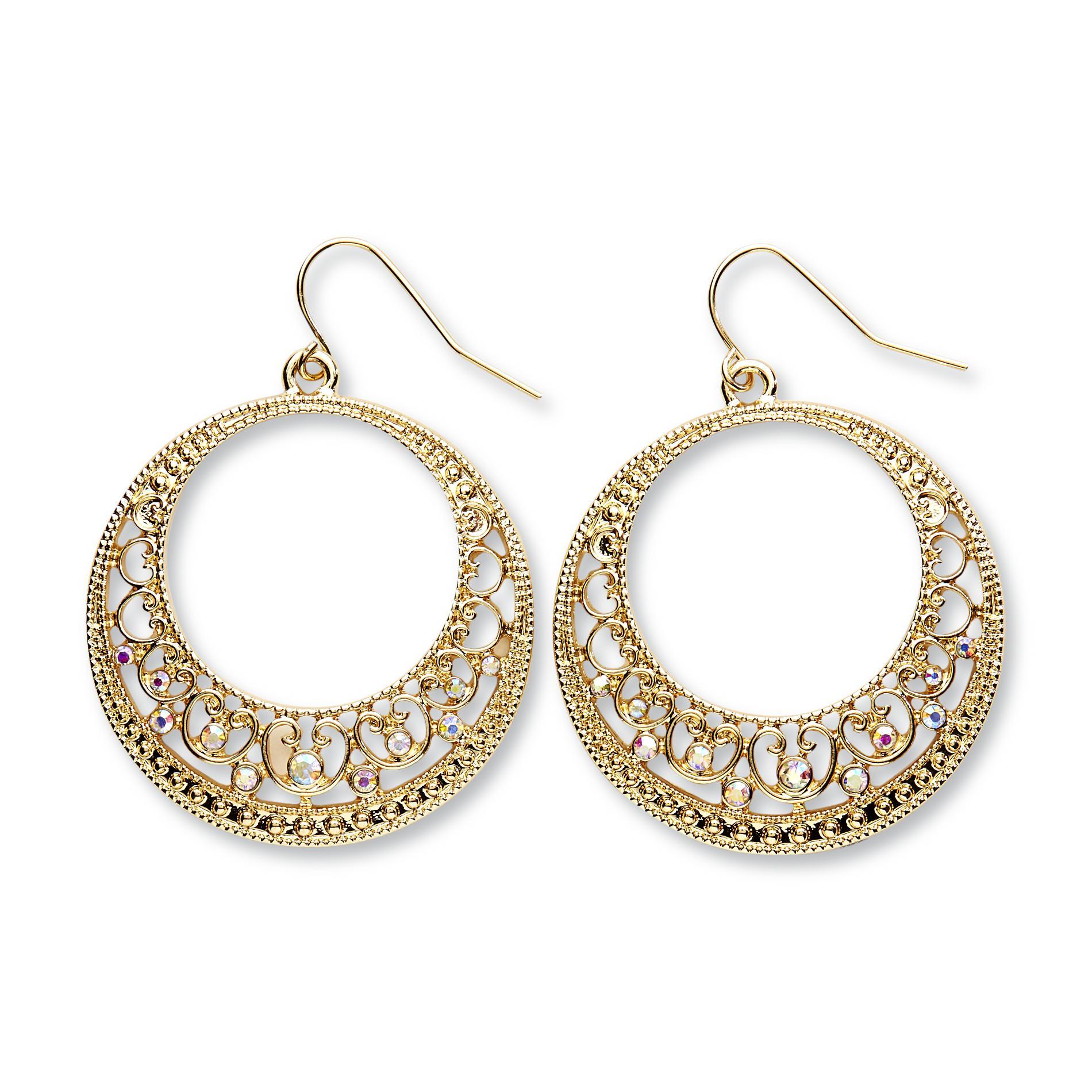 Women's Goldtone Beaded Hoop Earrings