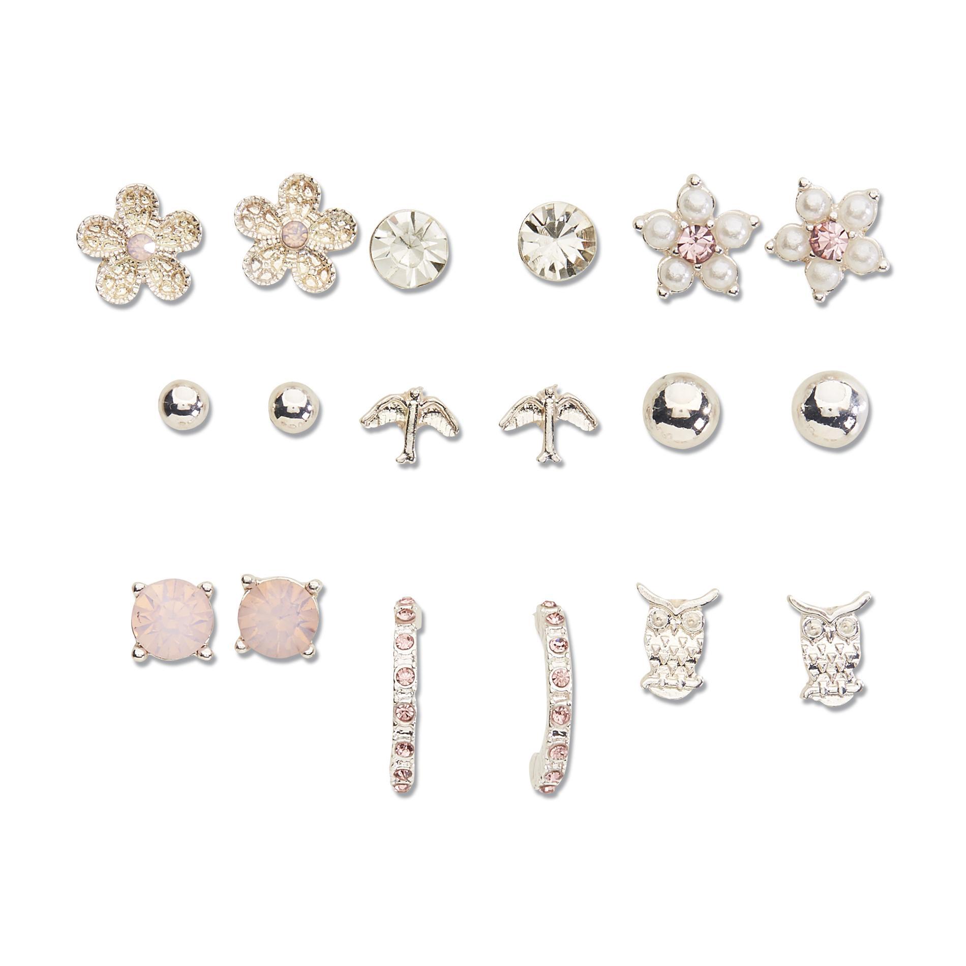 Women's 9-Pairs Silvertone Stud & Hoop Earrings