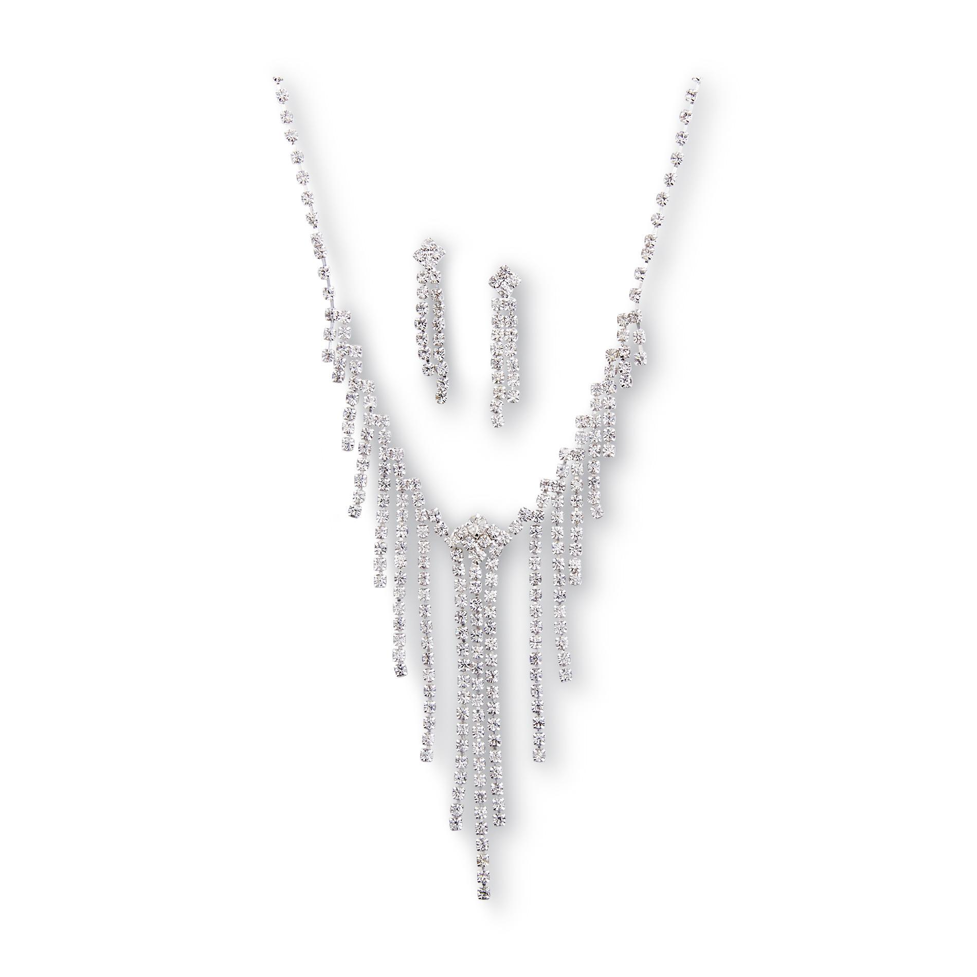 Junior's Rhinestone Necklace & Earrings
