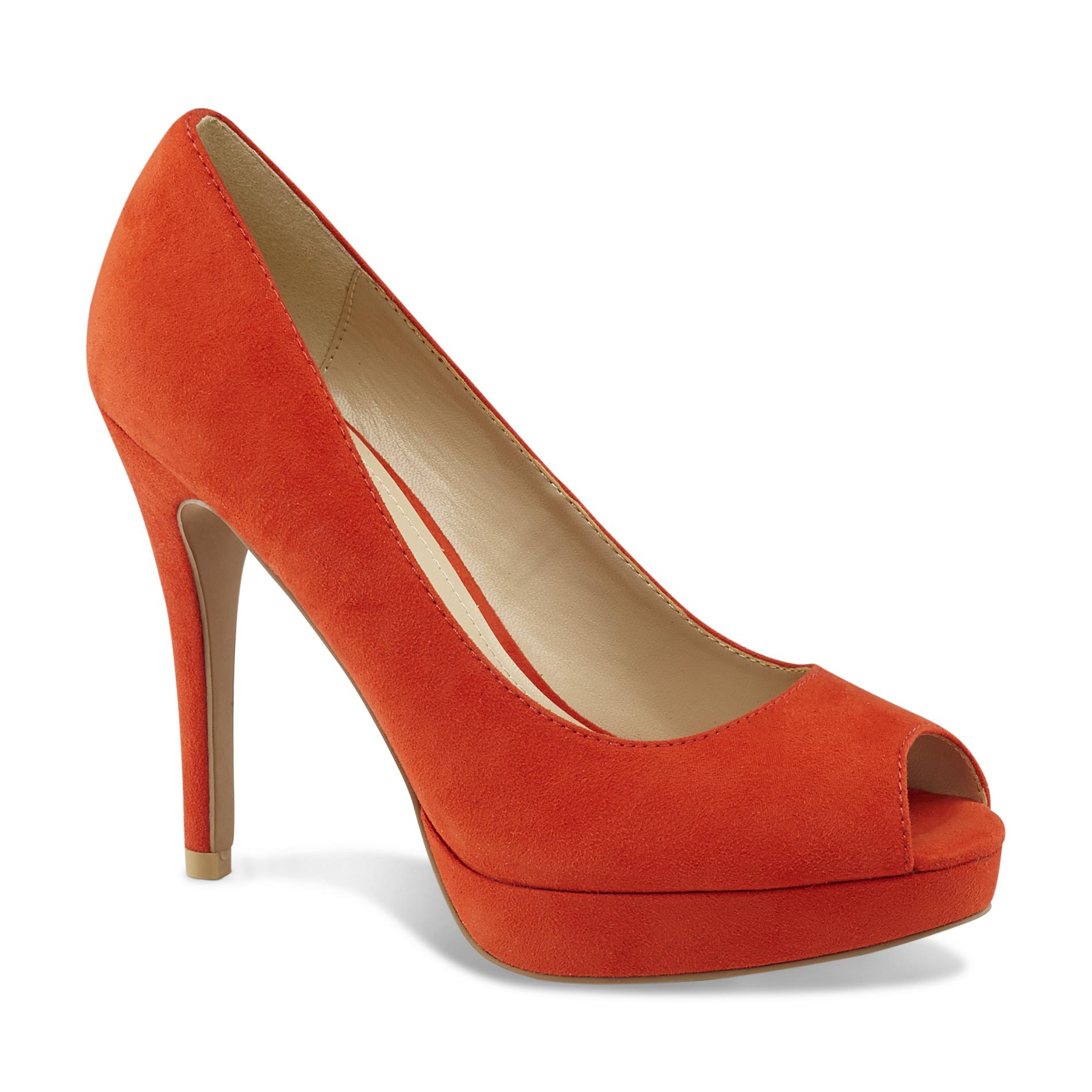 Attention Women's Deleena Red Peep-Toe Pump