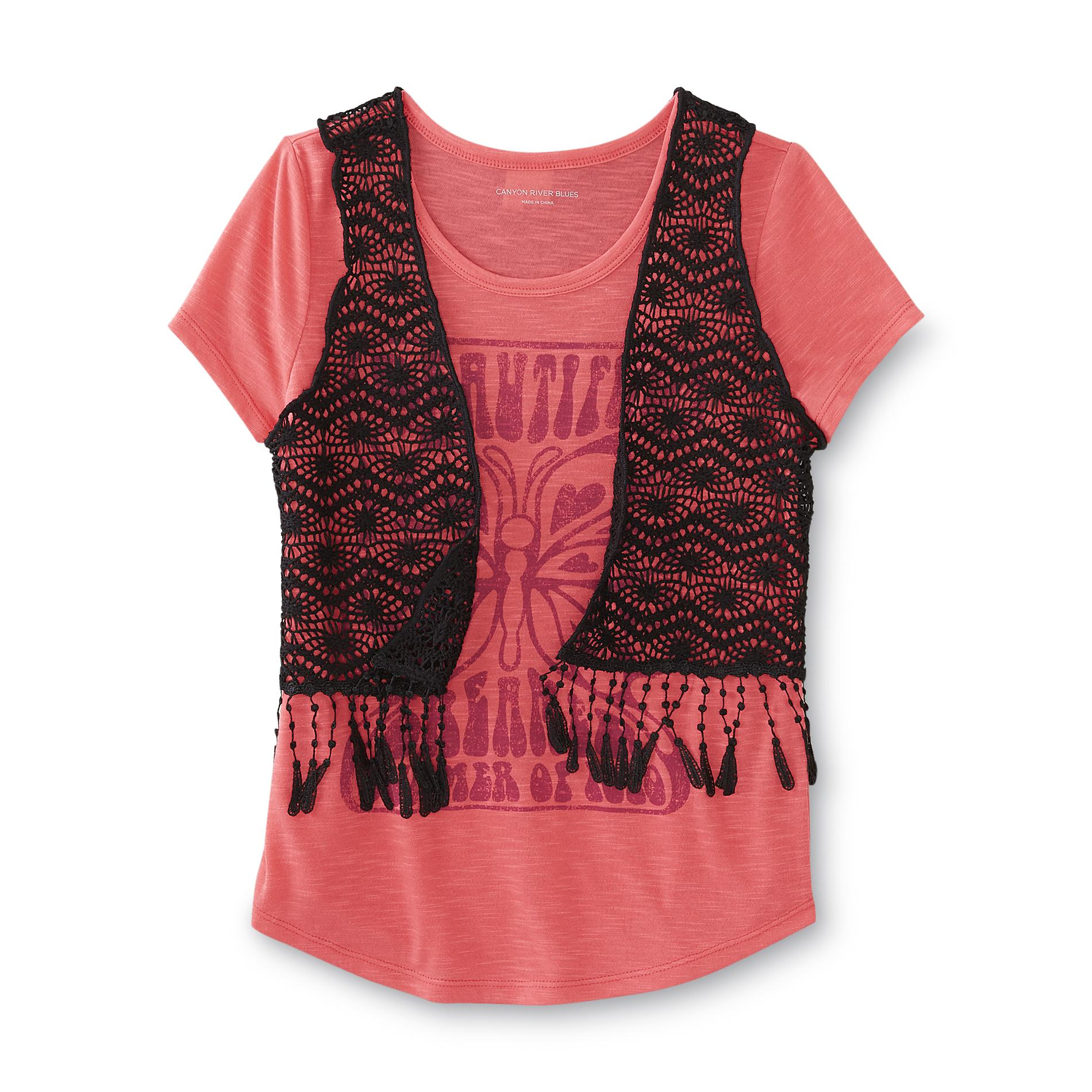 Canyon River Blues Girl's Graphic T-Shirt & Vest - Butterfly