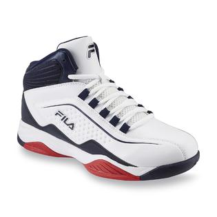 431fe30fdbdd Fila Men s Entrapment White Navy Red Mid-Top Basketball Shoe