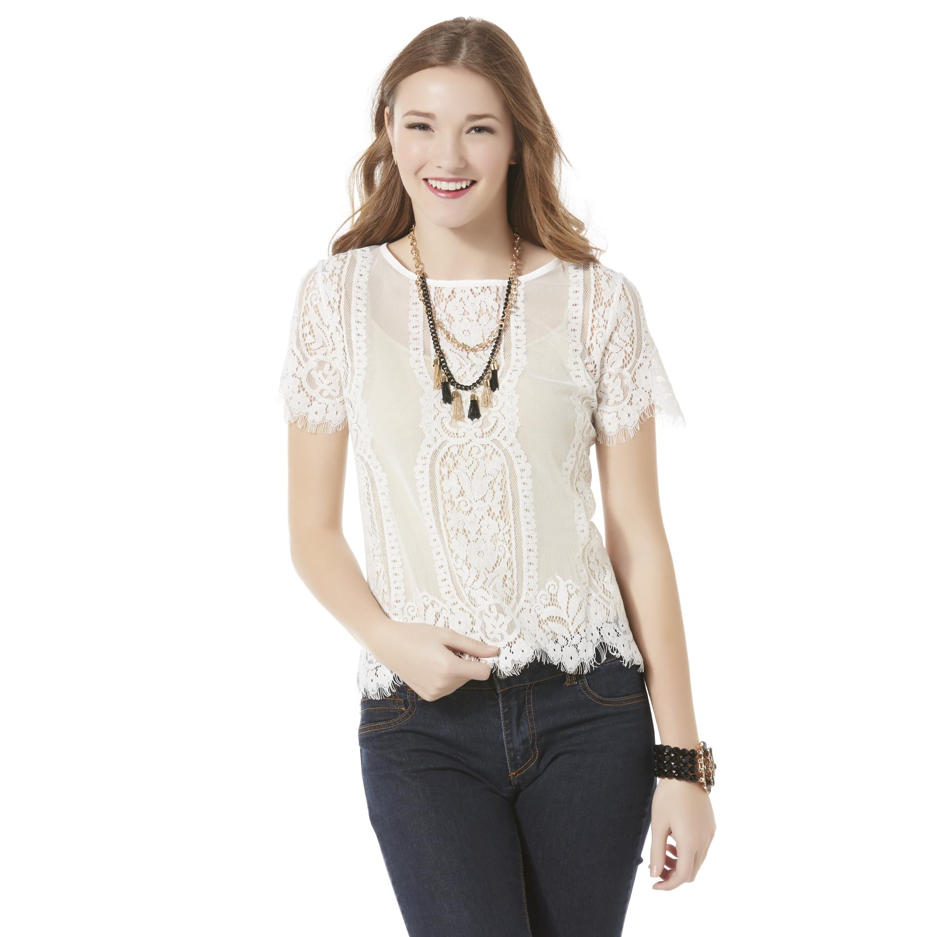 Juniors Lace Tops. Showing 40 of 76 results that match your query. Search Product Result. Product - Women Lace Designed Top Wearing Shirt and Blouse Black. Product Image. Price $ Product Title. Women Lace Designed Top Wearing Shirt and Blouse Black. Add To Cart. There is a problem adding to cart. Please try again.