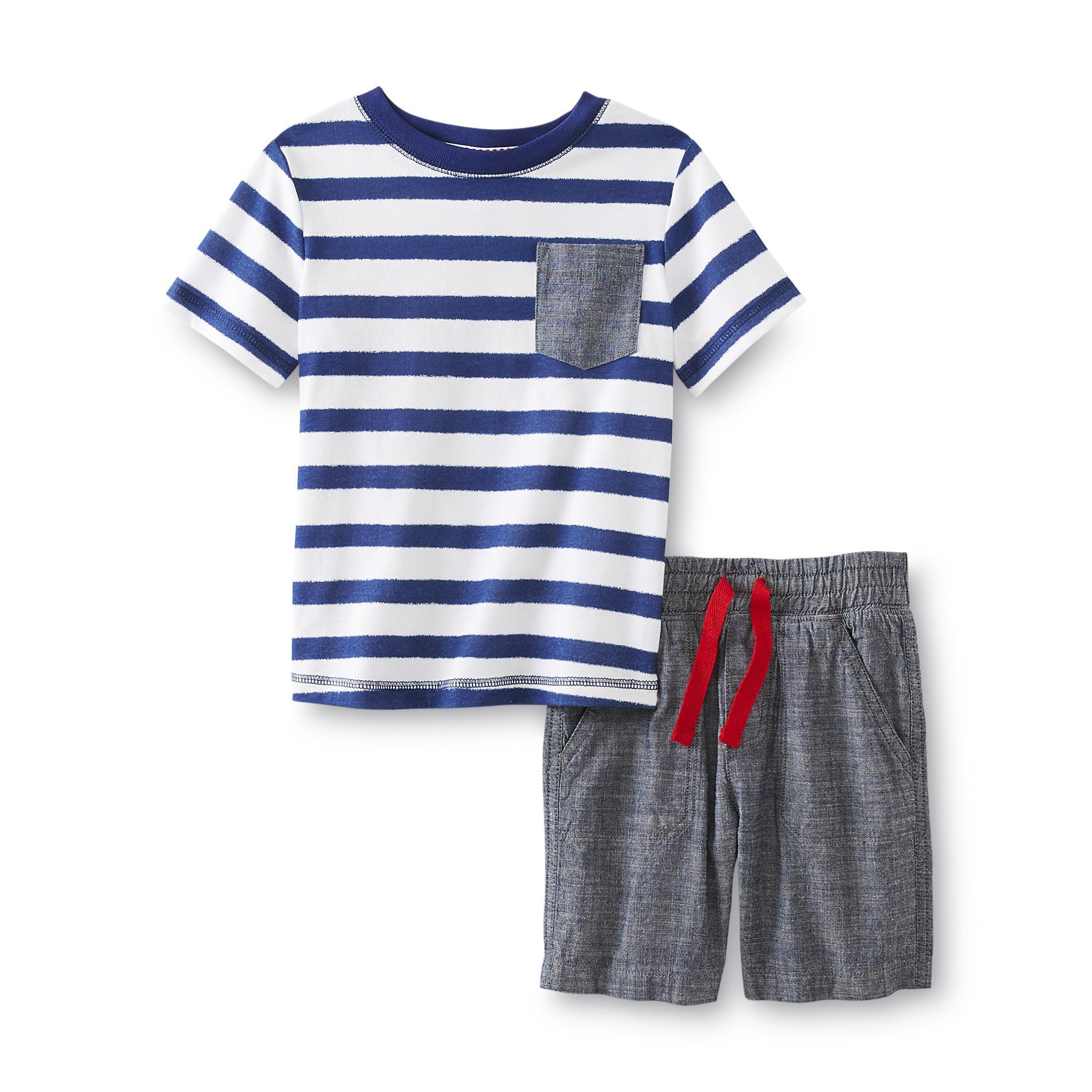 WonderKids Infant & Toddler Boy's Pocket T-Shirt & Chambray Shorts - Striped