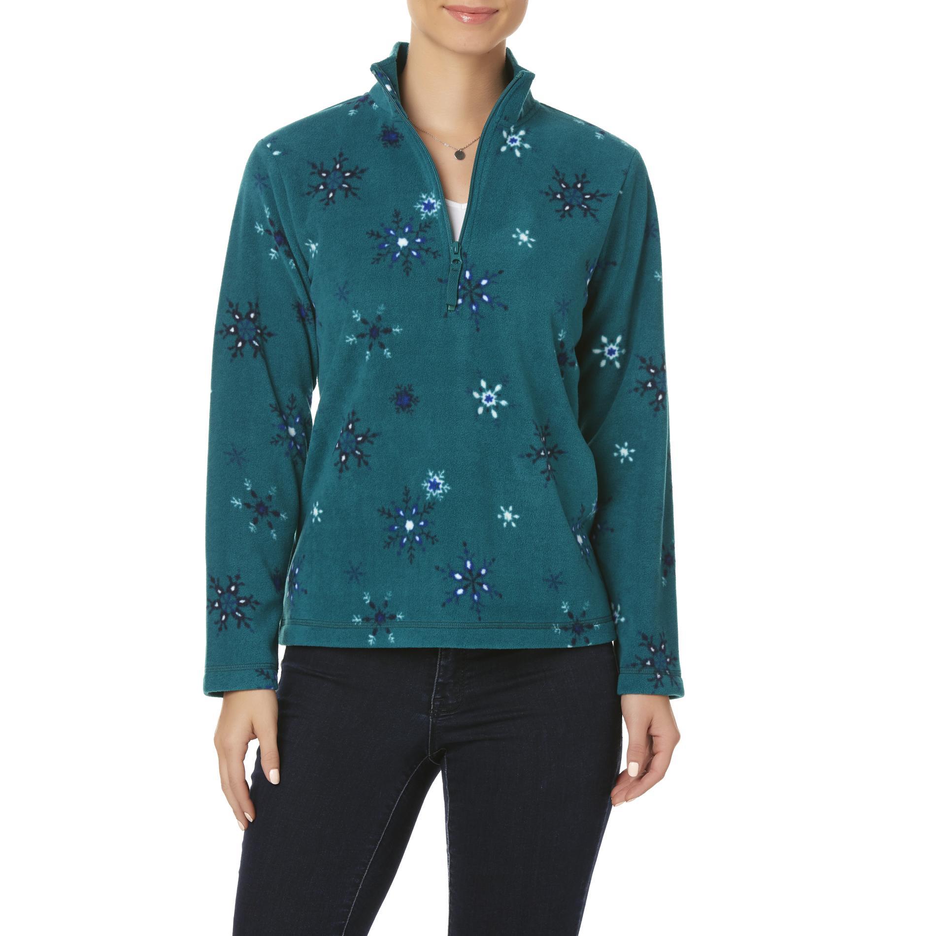 Laura Scott Petites' Quarter-Zip Sweatshirt - Snowflakes PartNumber: 016VA99087112P MfgPartNumber: WH7LS78205PT