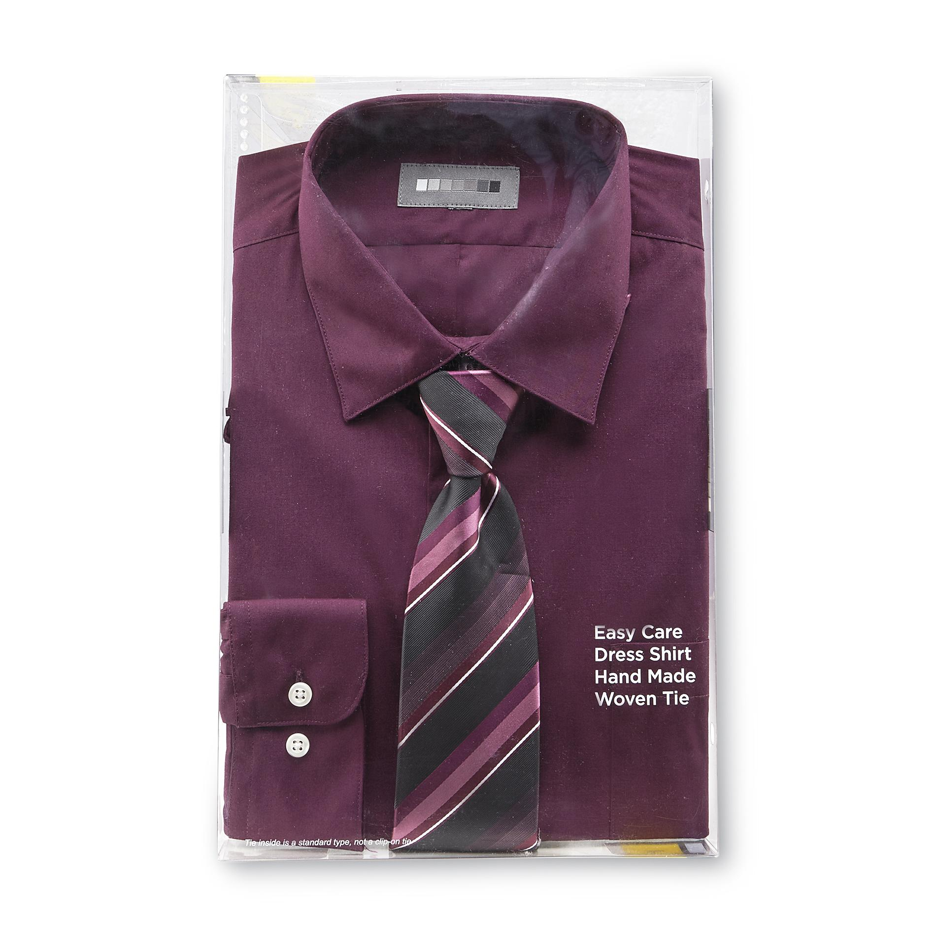 Covington Men's Easy Care Dress Shirt & Necktie - Striped