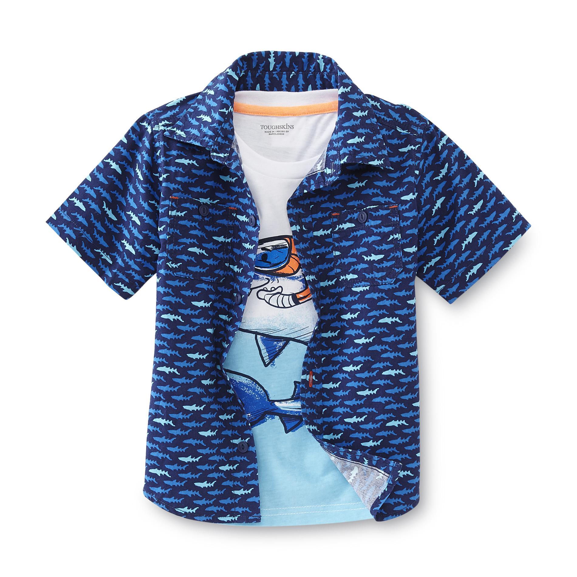 Toughskins Infant & Toddler Boy's Button-Front Shirt & T-Shirt - Sharks