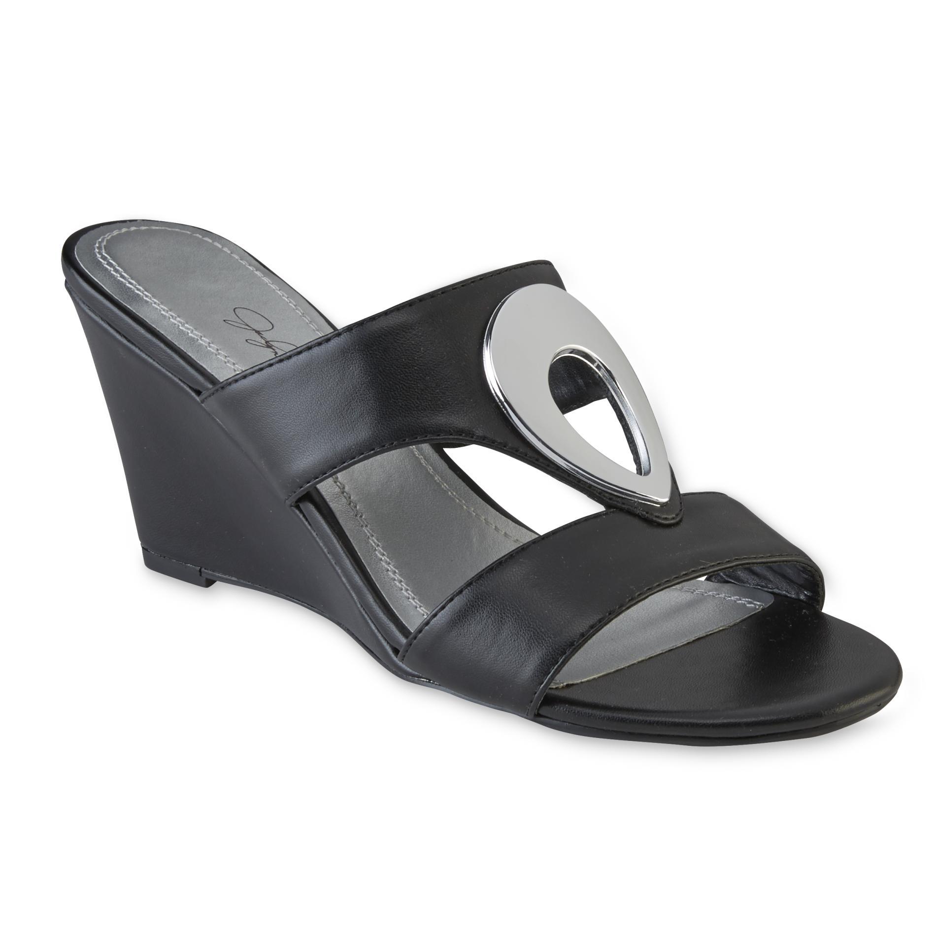 Jaclyn Smith Women's Giordana Cutout Black Wedge Sandal