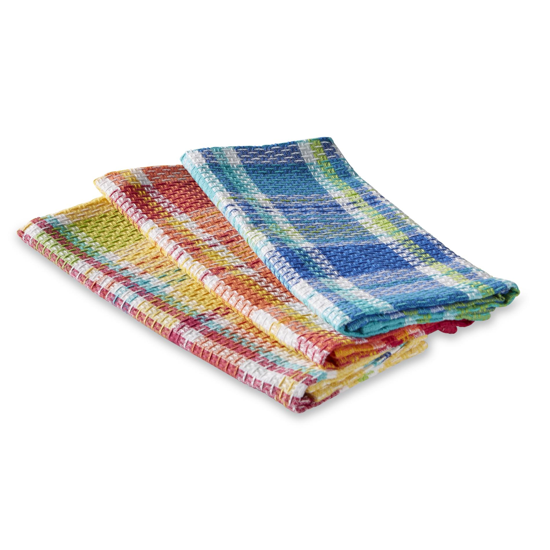 Essential Home 3-Pack Waffle Knit Dish Towels - Plaid
