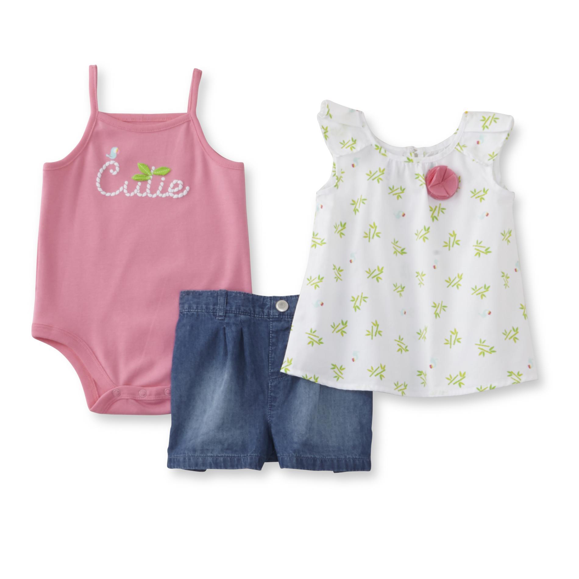 Little Wonders Newborn Girl's Bodysuit, Tunic & Shorts - Cutie
