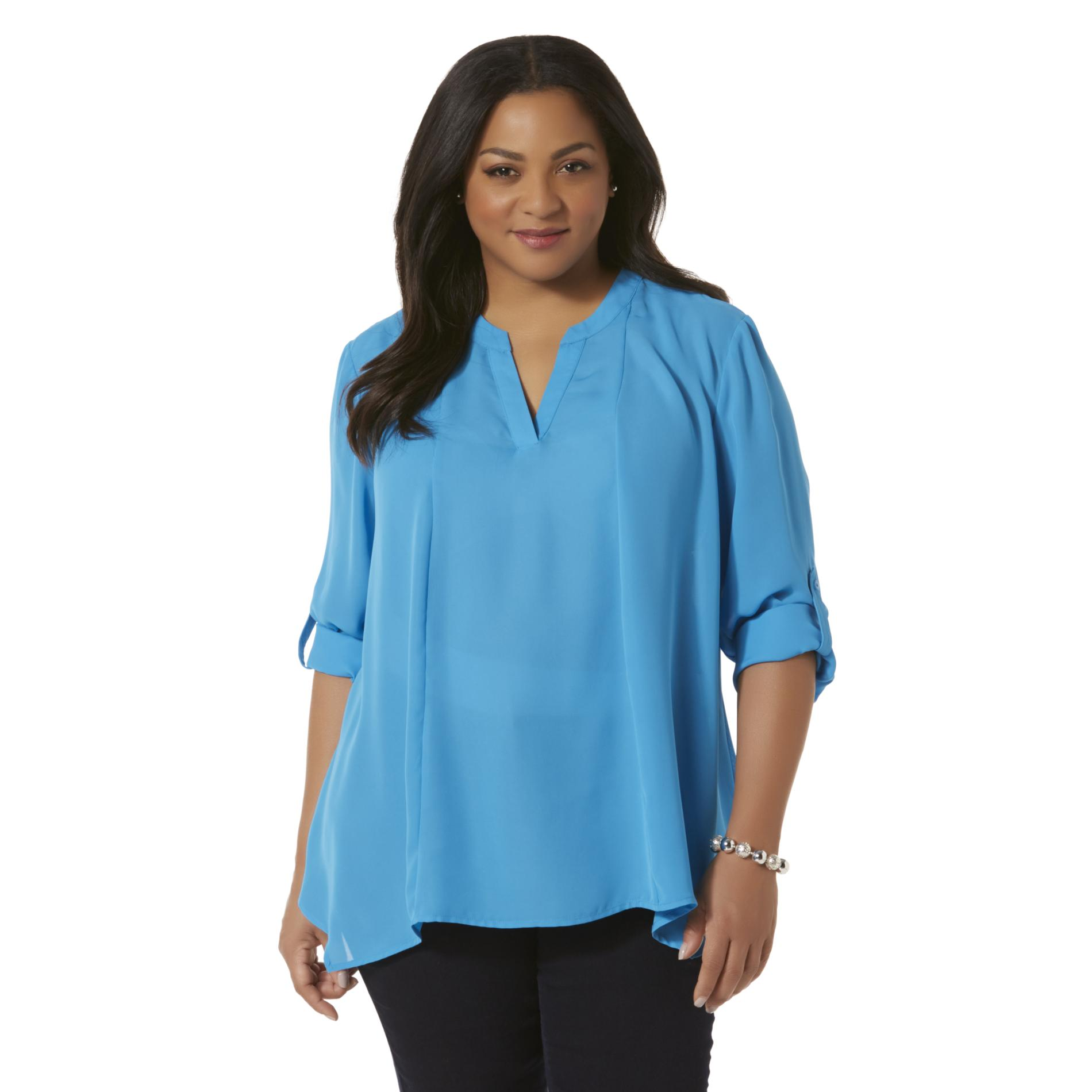 Simply Emma Plus Size Women's Plus Chiffon Split Neck Top,  Size: 2  Calypso Coral plus size,  plus size fashion plus size appare