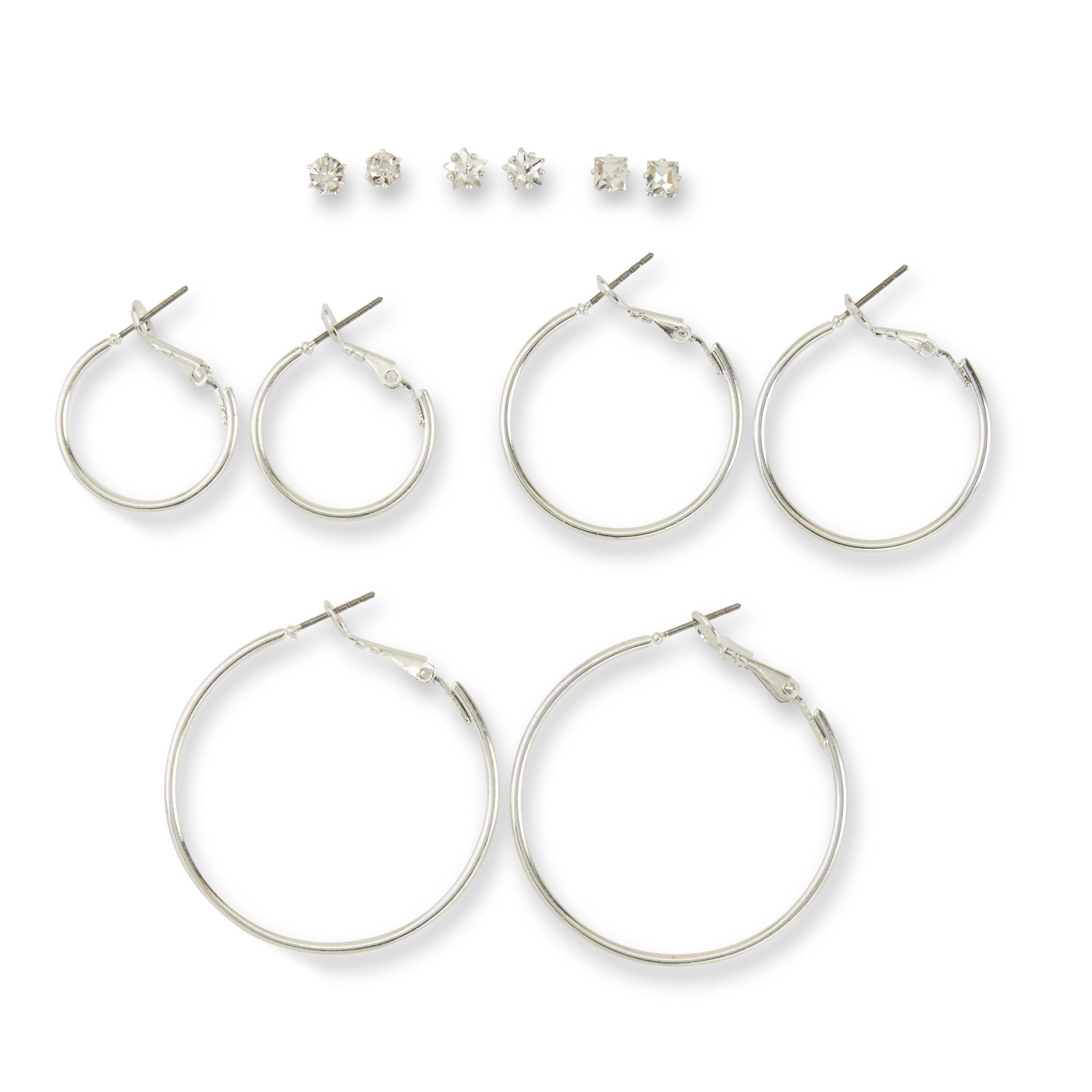 Attention Women's 6-Pairs Silvertone Hoop & Stud Earrings