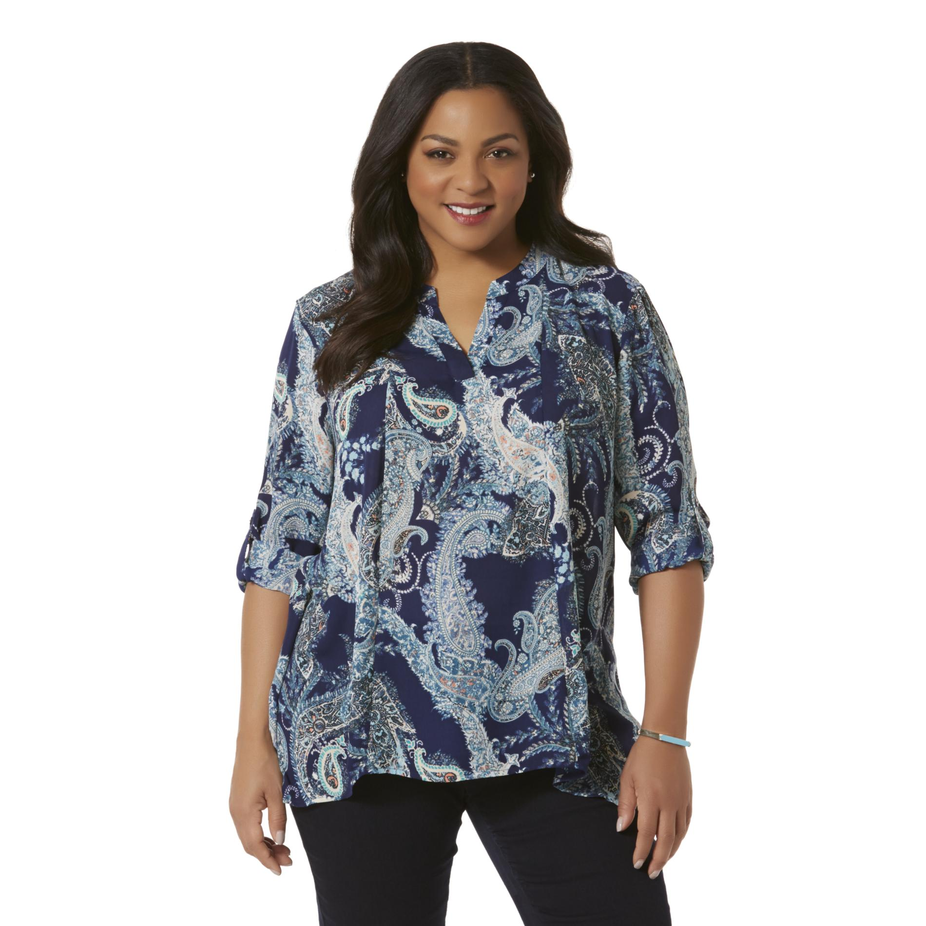 Simply Emma Plus Size Women's Plus Chiffon Split Neck Top - Paisley,  Size: 1XL plus size,  plus size fashion plus size appare