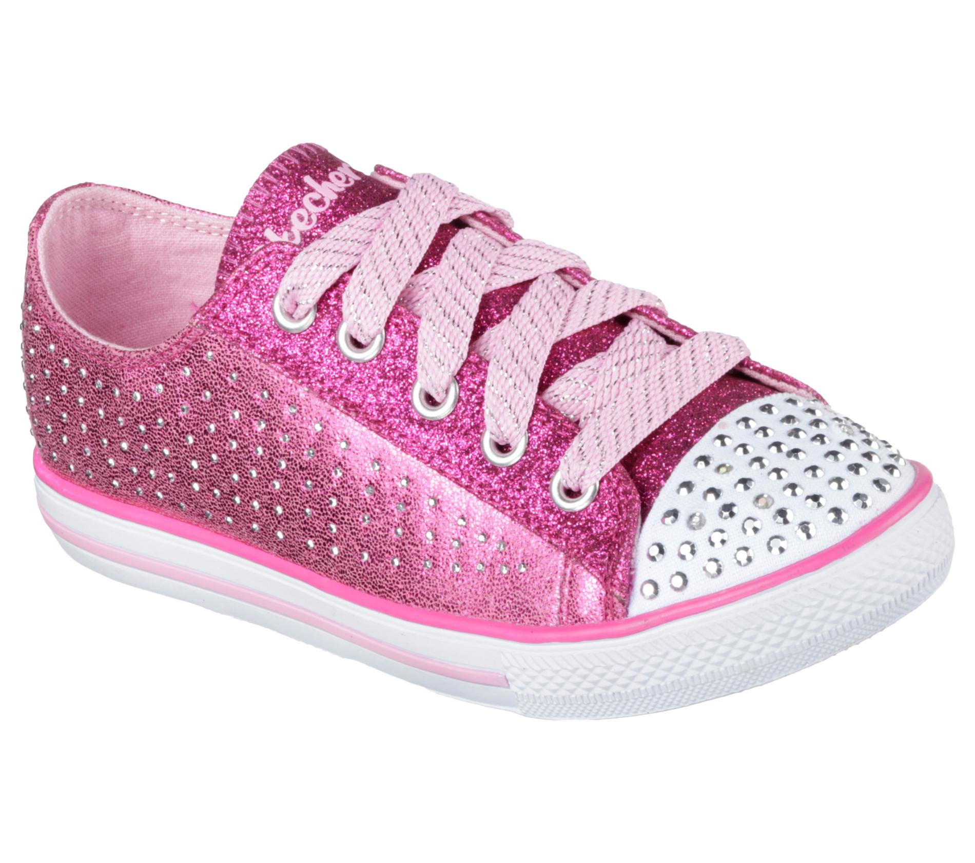 skechers s twinkle toes chit chats pink light up sneaker
