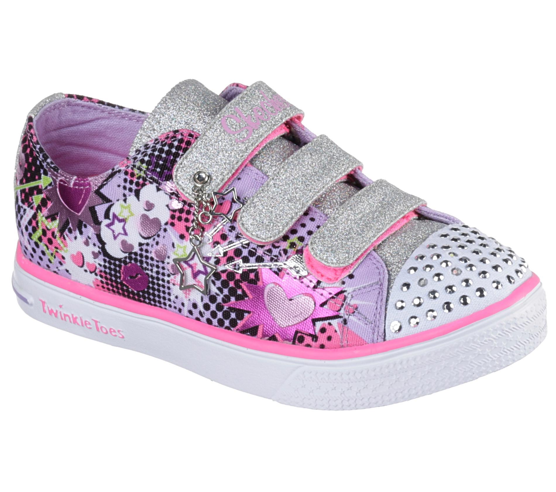 Skechers Girl's Twinkle Toes Purple/Silver/Pink Light-Up Sneaker