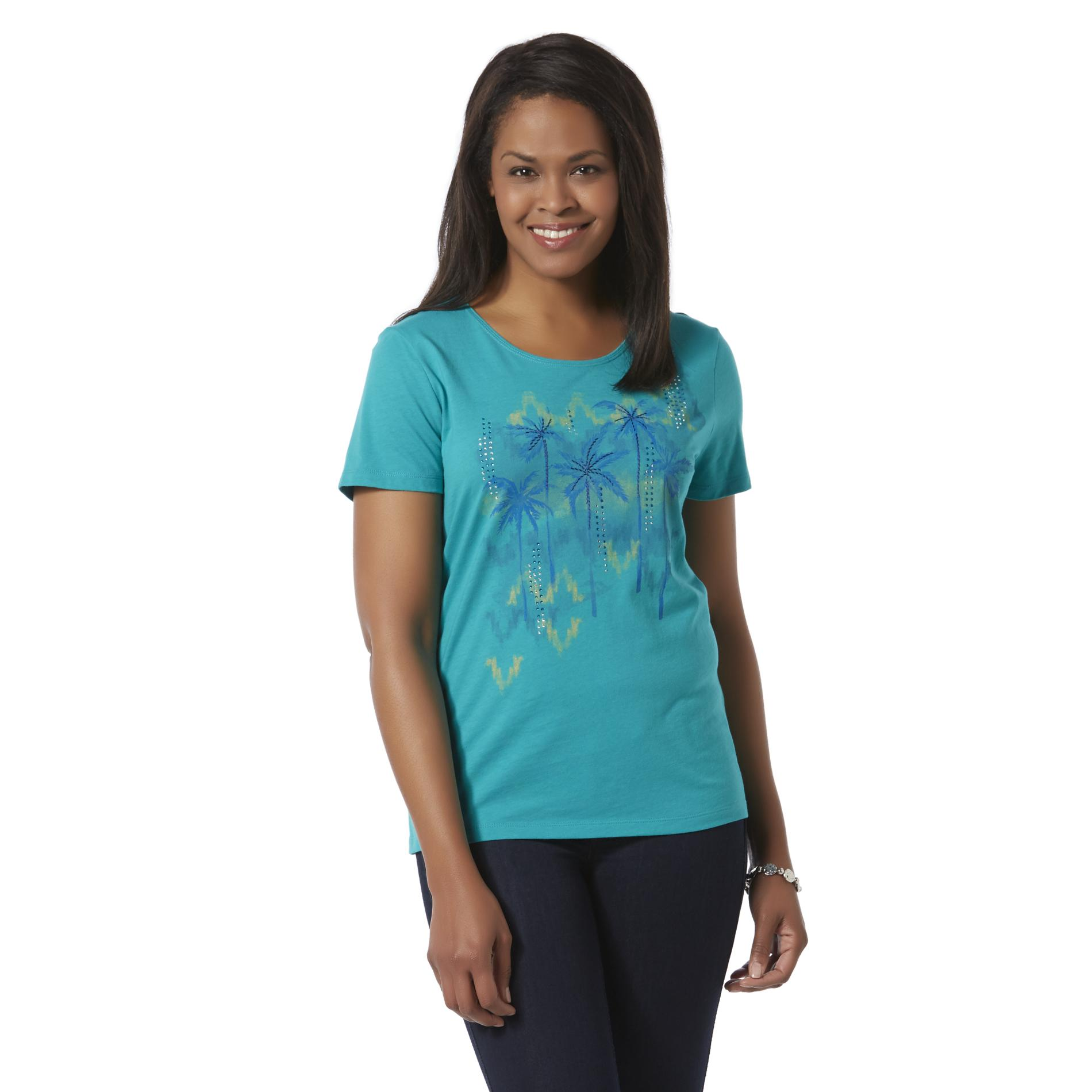 Laura Scott Women's Embellished T-Shirt - Palm Trees