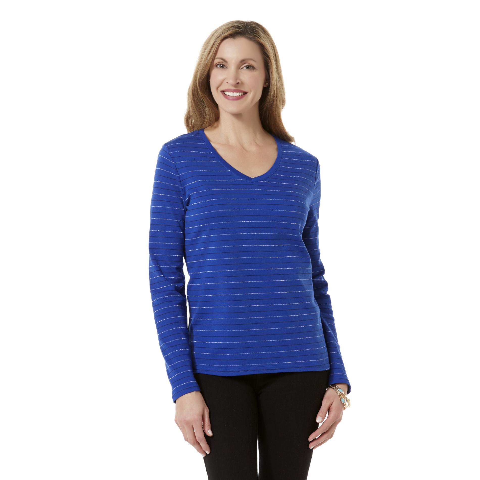 Basic Editions Women's Long-Sleeve T-Shirt - Striped