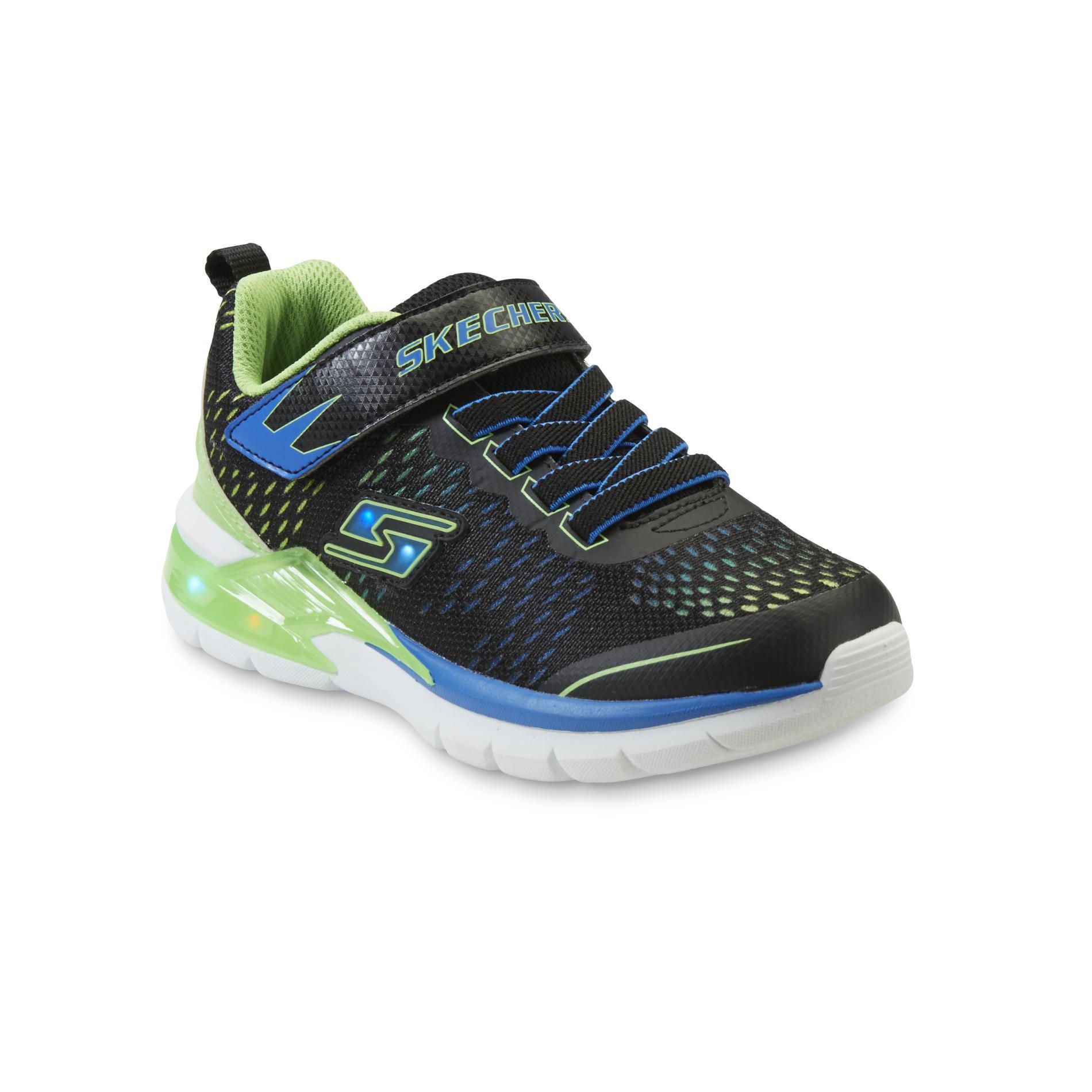 Skechers Boyu0026#39;s Erupters Black/Green/Blue Light-Up Athletic ...