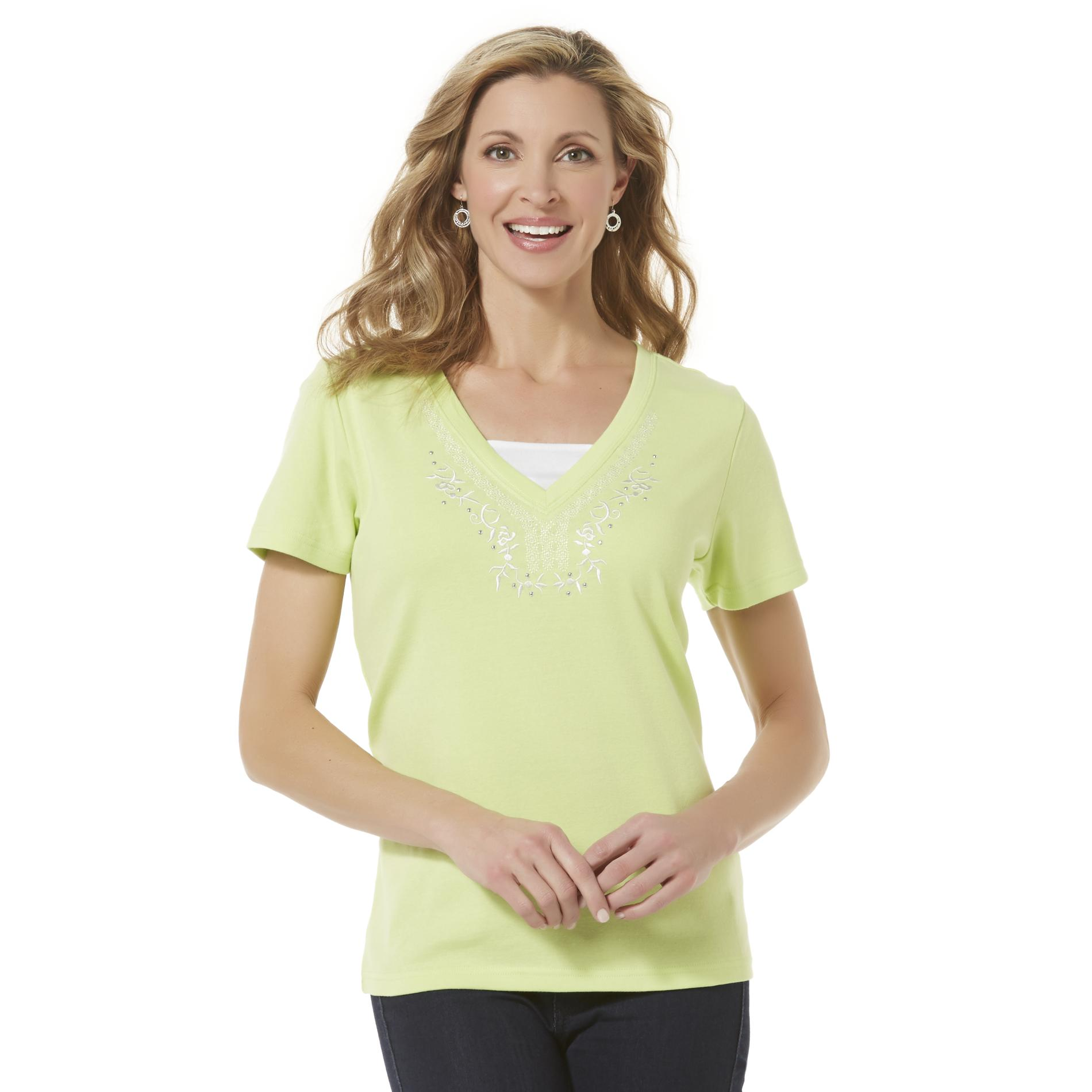 Basic Editions Women's Embellished T-Shirt
