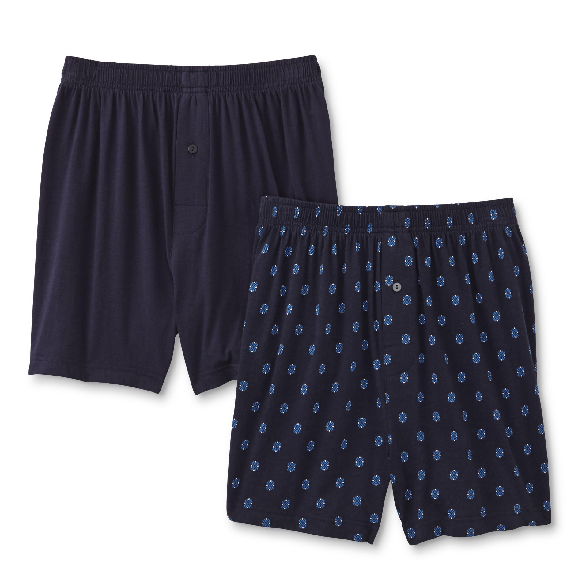 Joe Boxer Men's 2-Pairs Knit Boxer Shorts - Geomteric & Solid