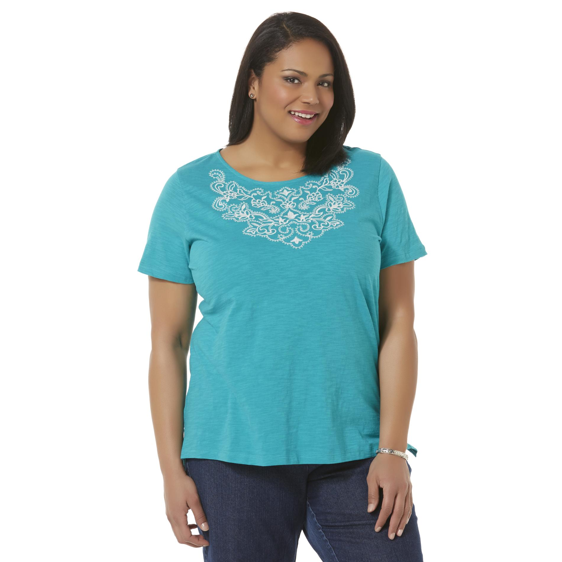 Laura Scott Women's Plus Embroidered T-Shirt
