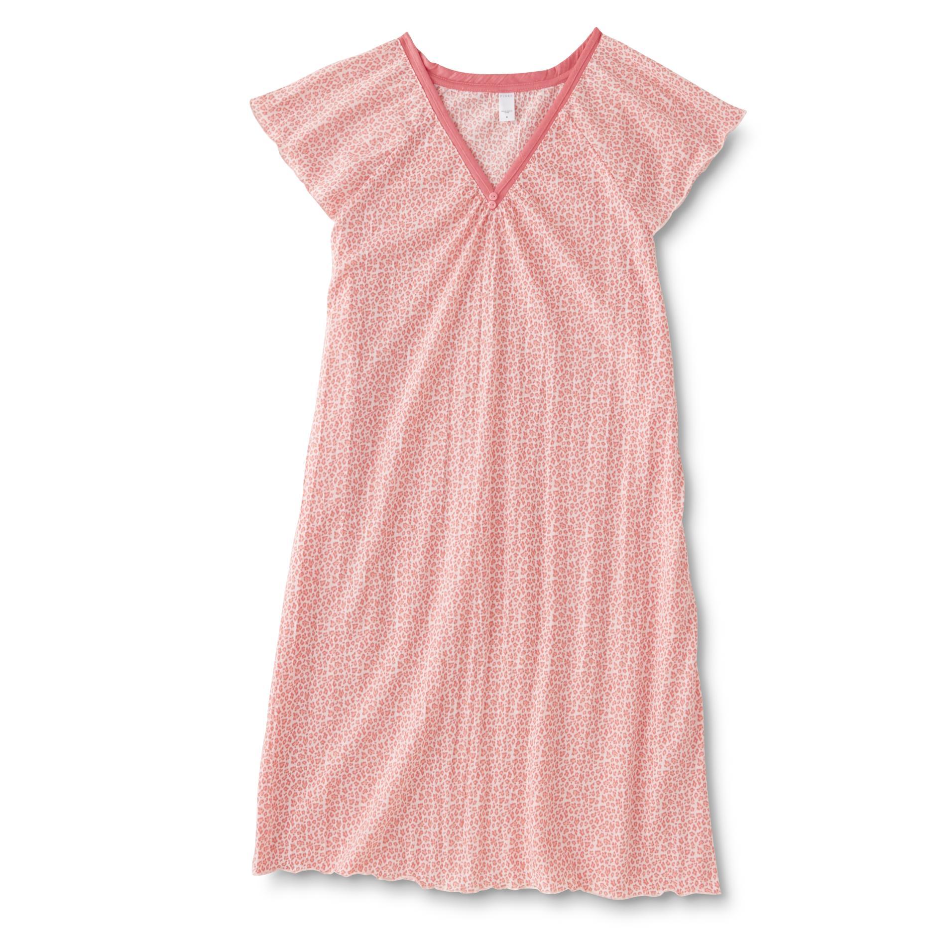 Pink K Women's Nightgown - Leopard Print