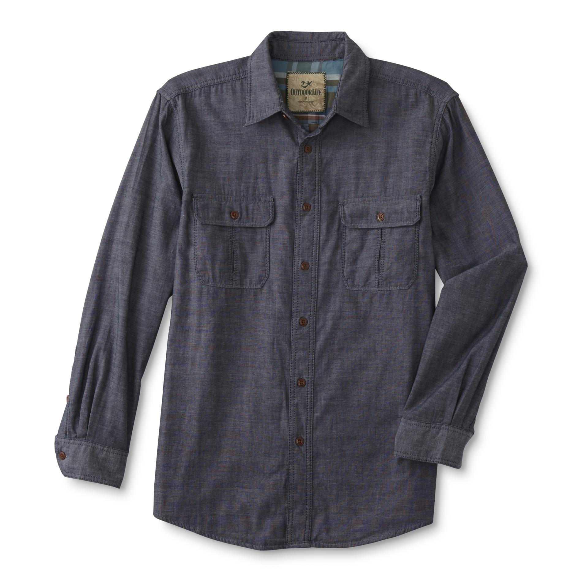 Outdoor life men 39 s long sleeve shirt chambray sears for Mens outdoor long sleeve shirts