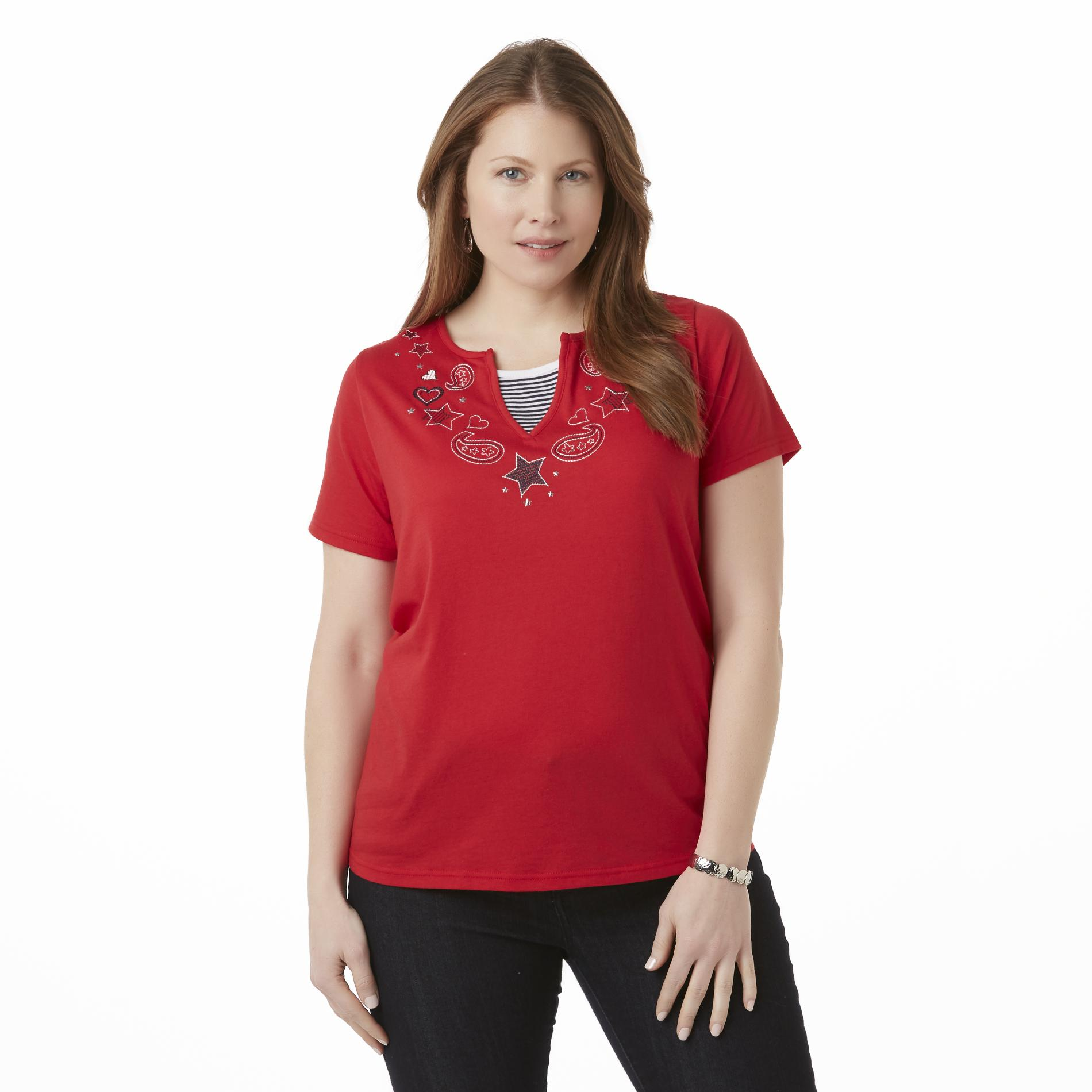 Holiday Editions Women's Plus Layered-Look T-Shirt - Handkerchief