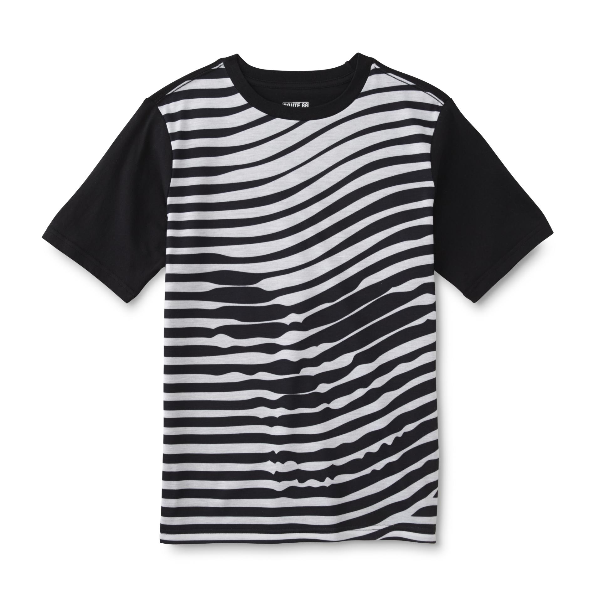 Route 66 Boy's Crew Neck T-Shirt - Wavy Striped