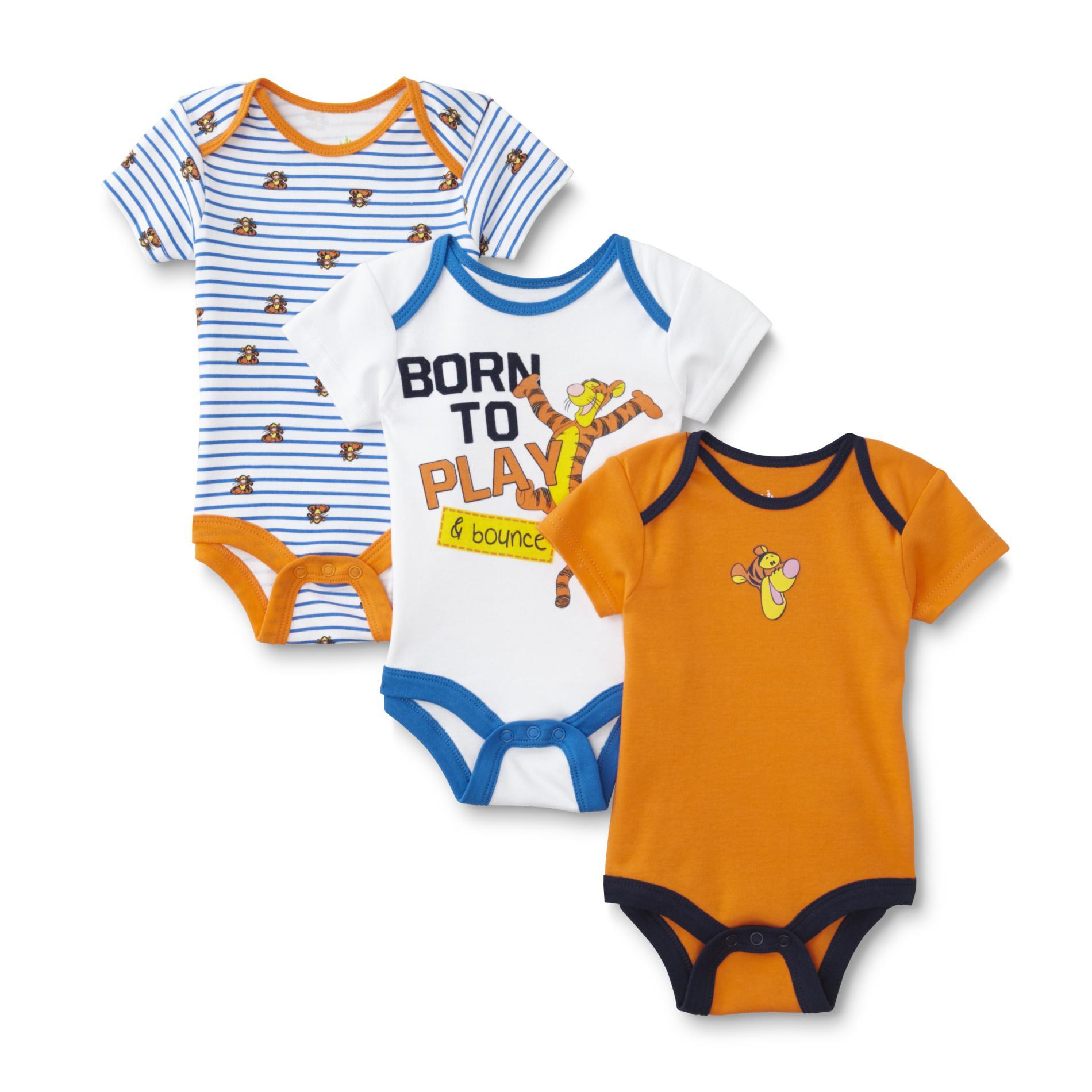 Disney Baby Winnie the Pooh Newborn Boy's 3-Pack Bodysuits - Tigger