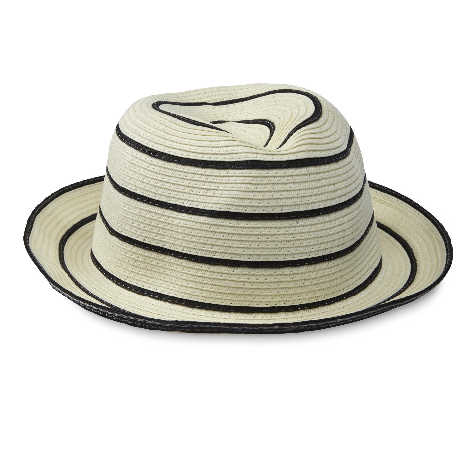 Women's Cream/Black Straw Fedora Hat