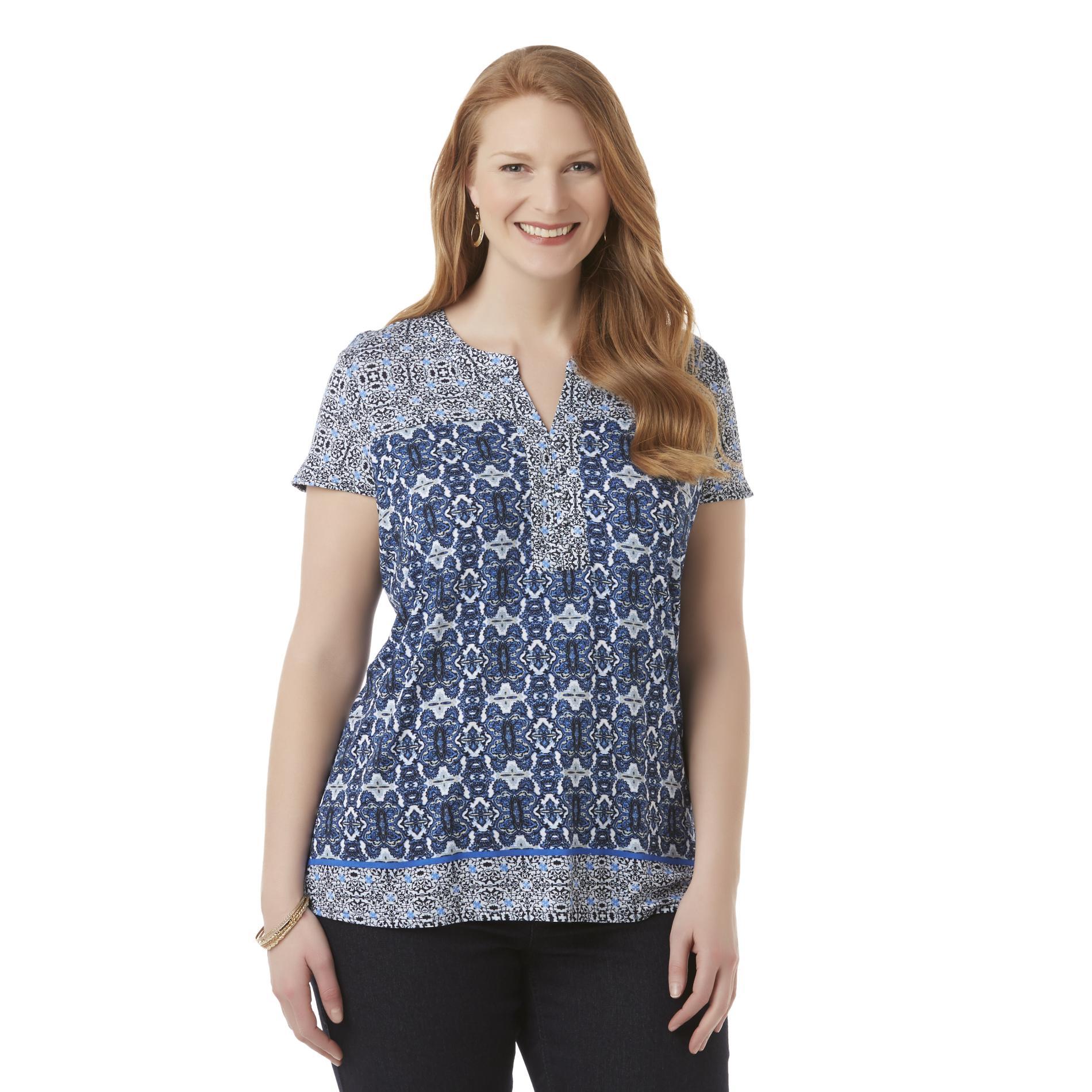 Laura Scott Women's Plus Henley Shirt - Paisley