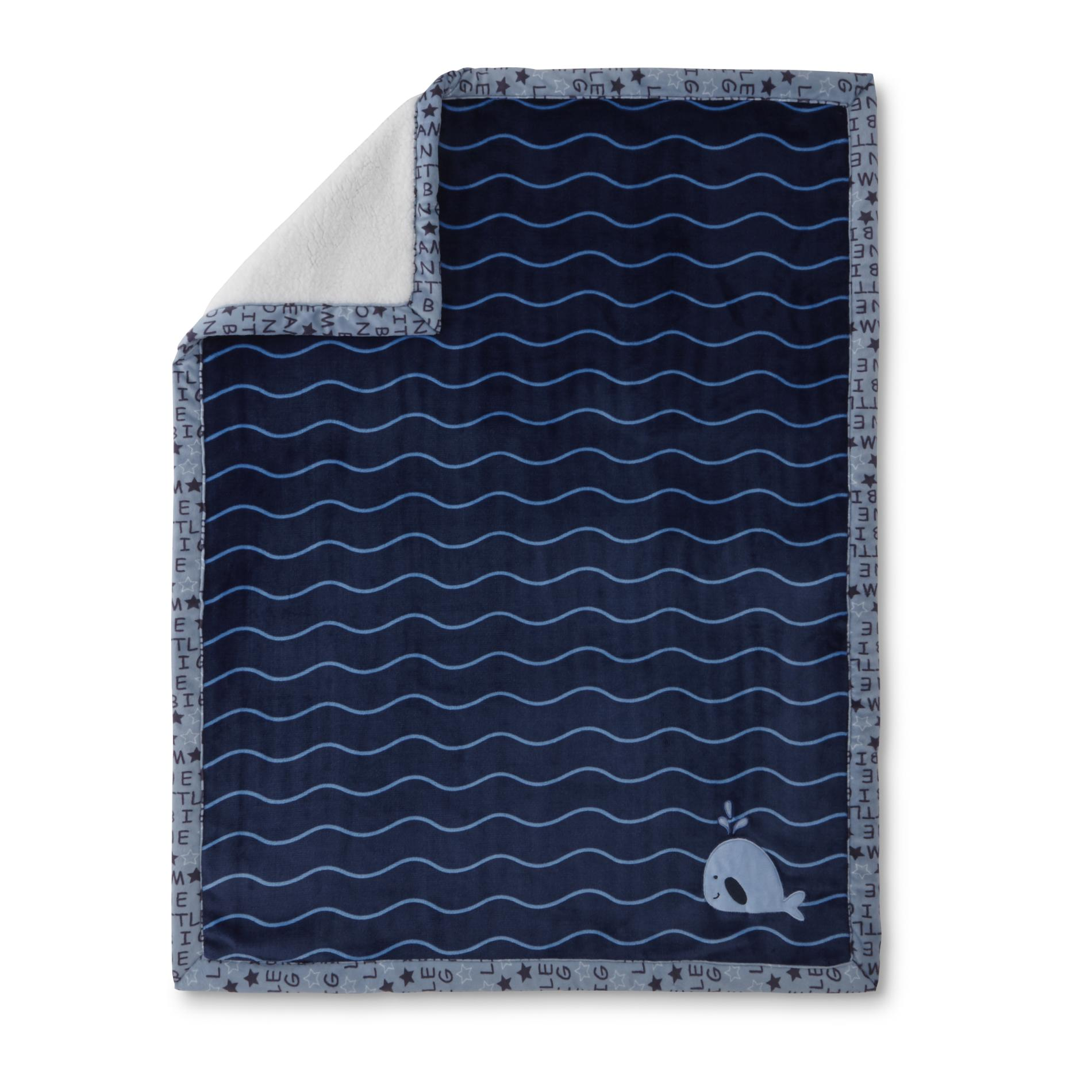 Image of Little Wonders Infant Boys' Cloudy Blanket - Whale, Blue