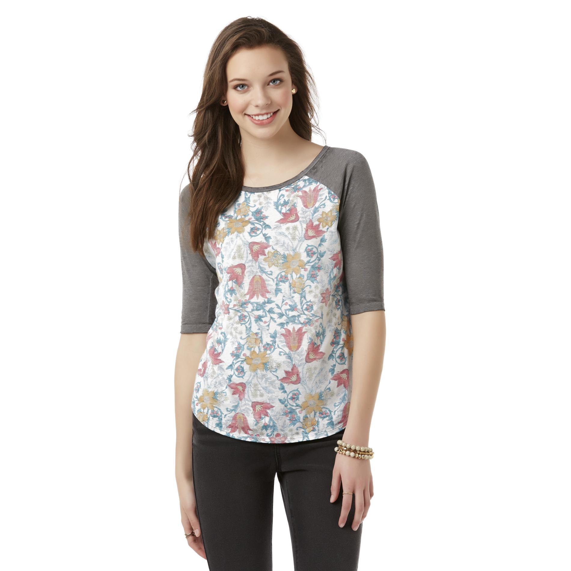 Junior's Raglan T-Shirt - Floral