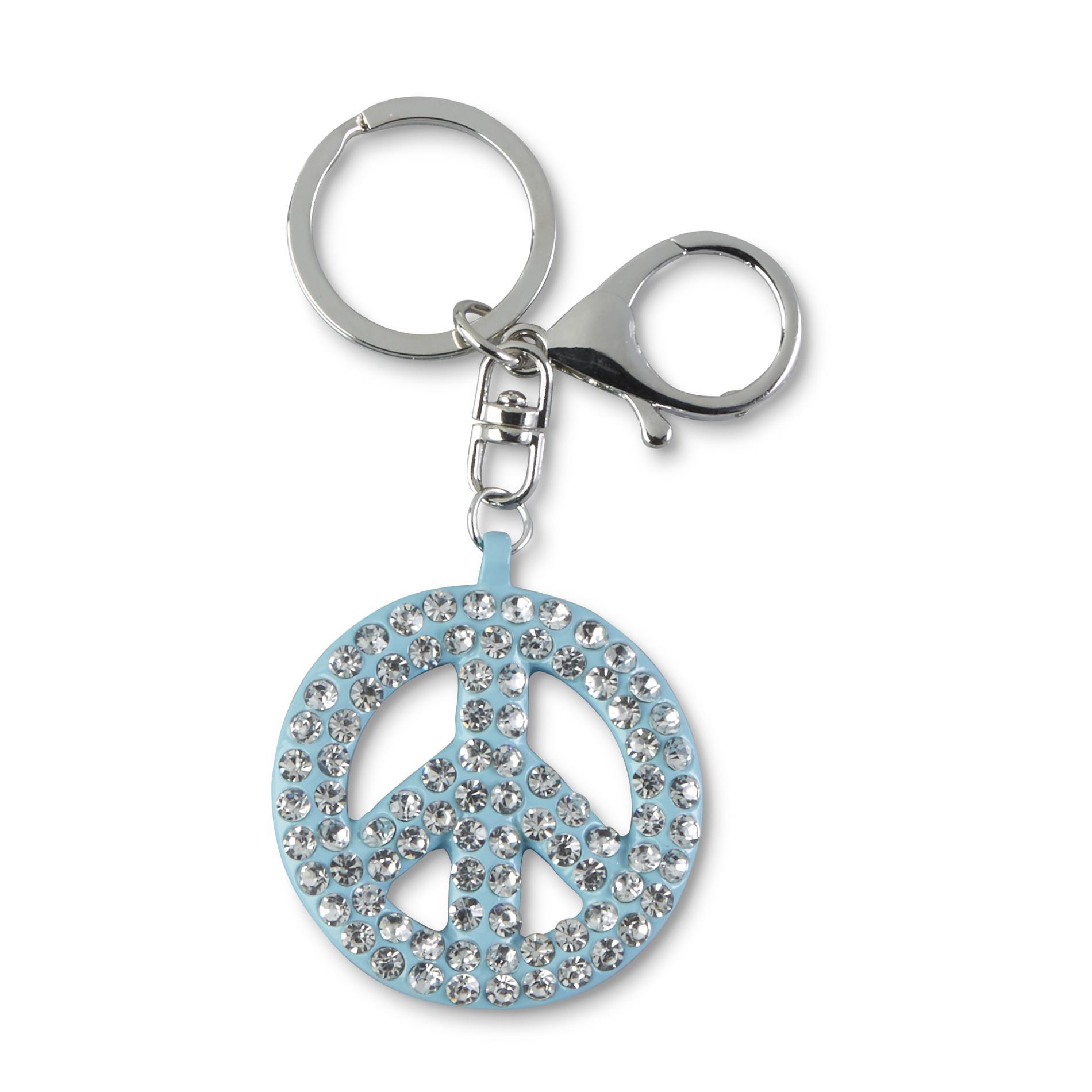 Attention Women's Silvertone Key Chain - Peace, Blue