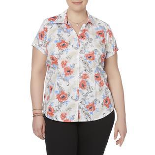 Basic Editions Women's Plus Camp Shirt - Floral