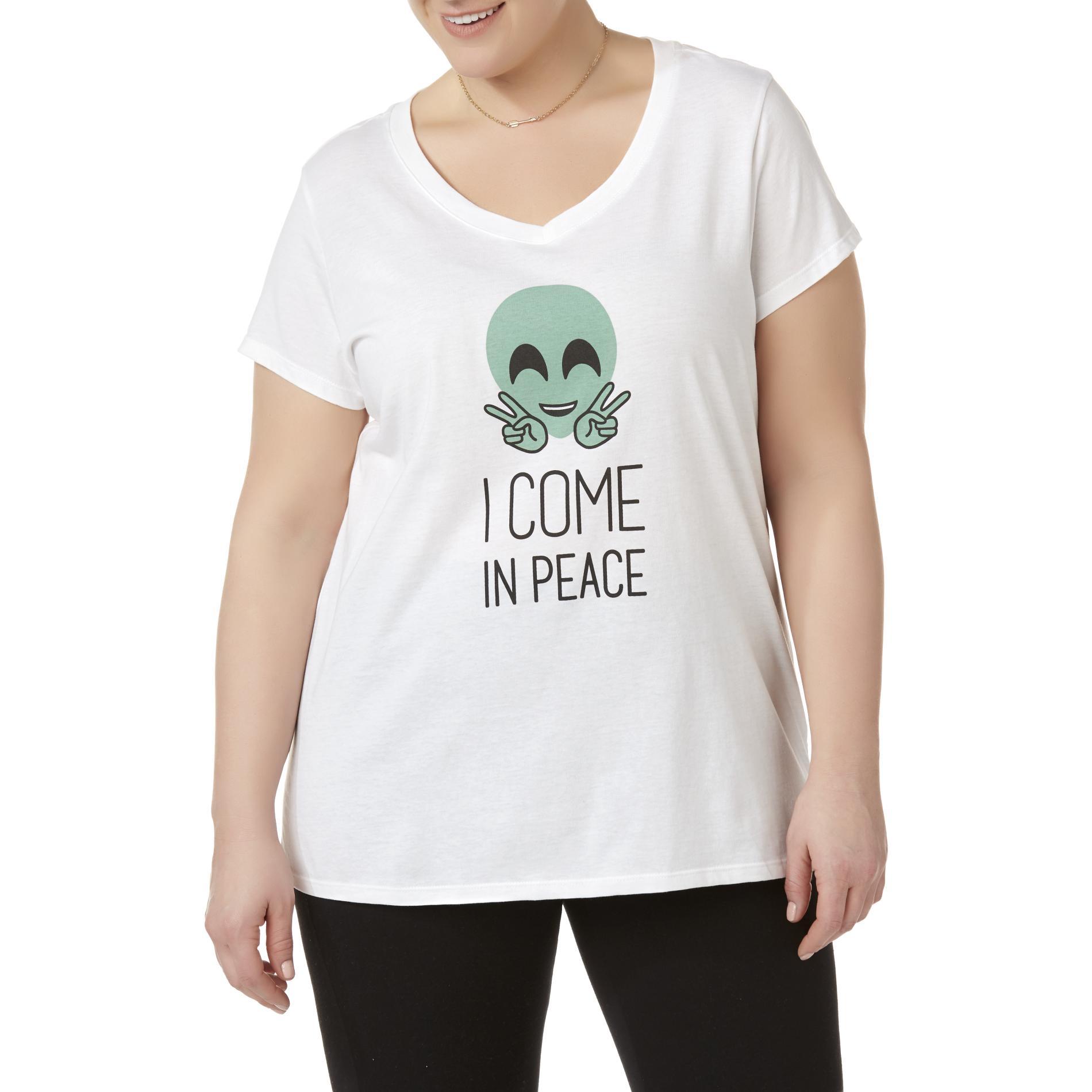 Joe Boxer Juniors' Plus V-Neck Graphic T-Shirt - I Come In Peace PartNumber: A020149406 MfgPartNumber: WC7JB78003PL