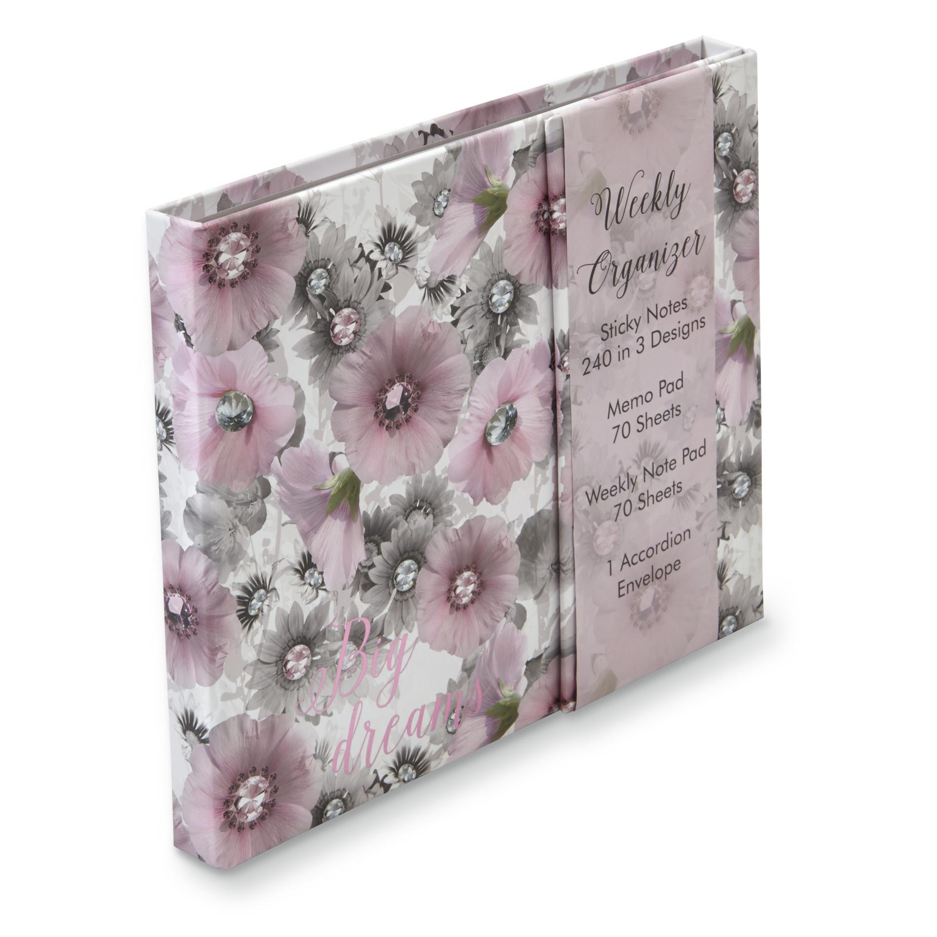 Image of 3461T-20139 Weekly Organizer - Flowers & Jewels, Multi Color