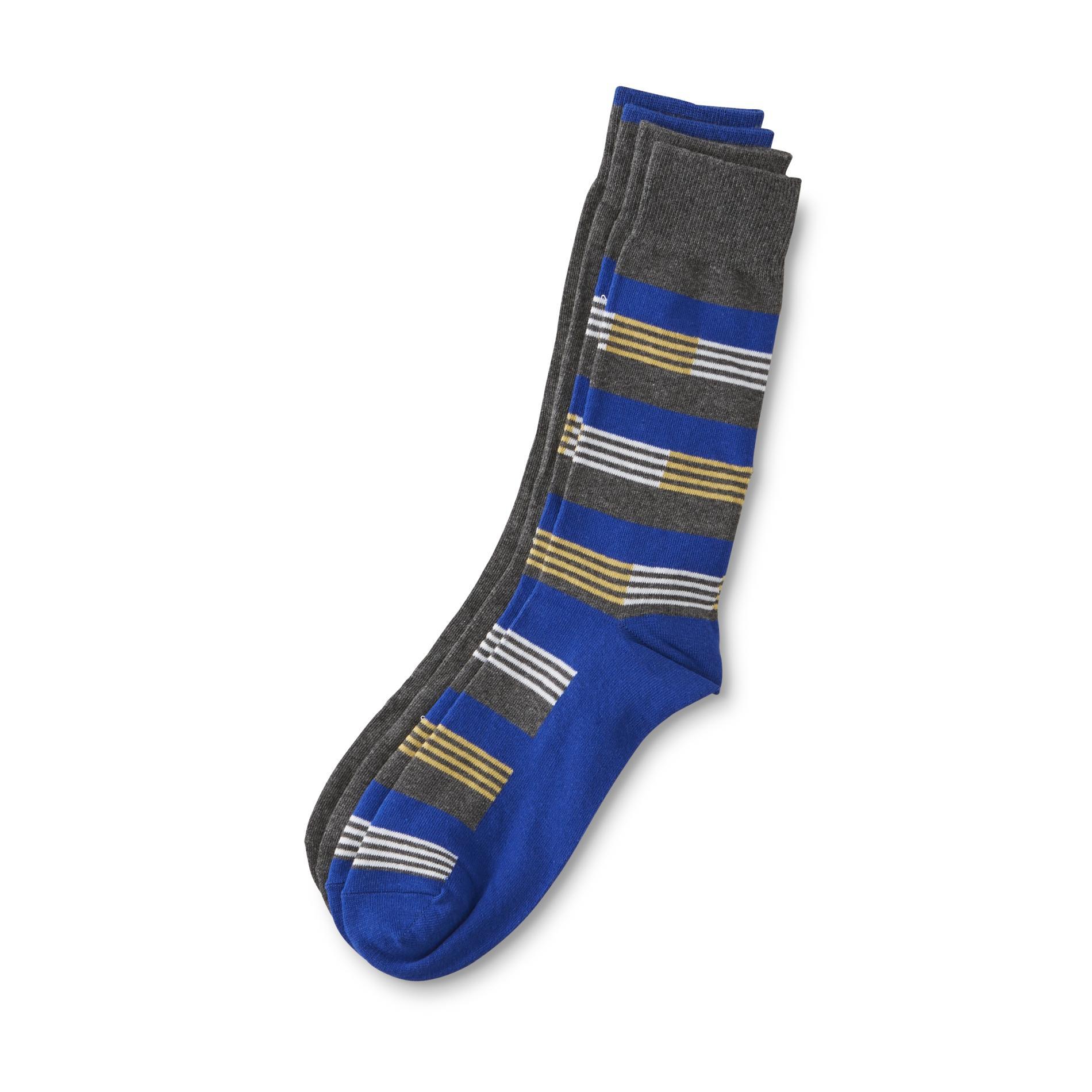 Structure Men's 2-Pairs Crew Socks - Striped