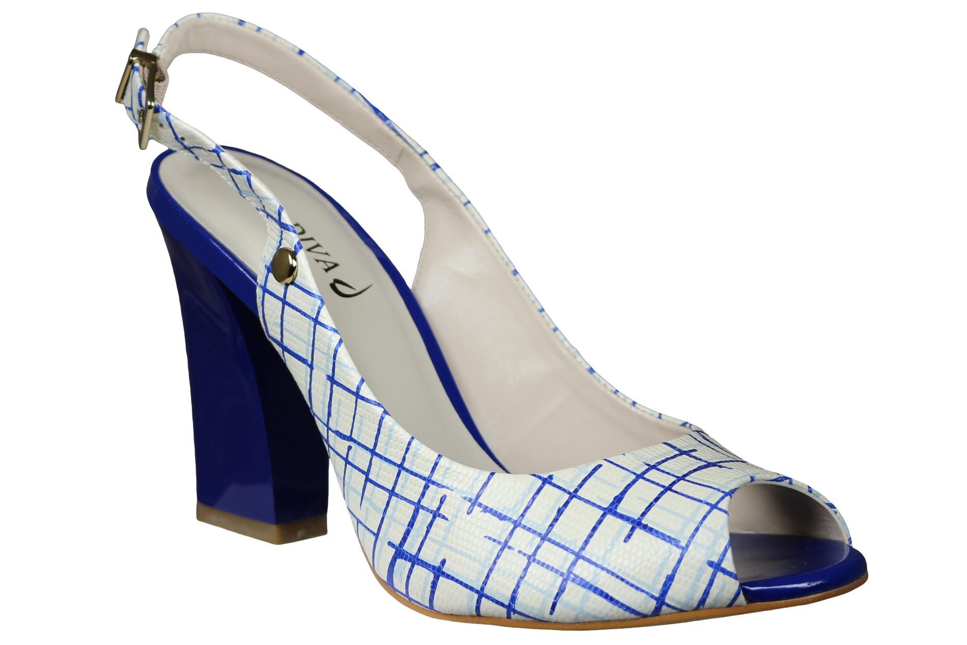 La Diva Women's Reims White/Blue Slingback Sandal